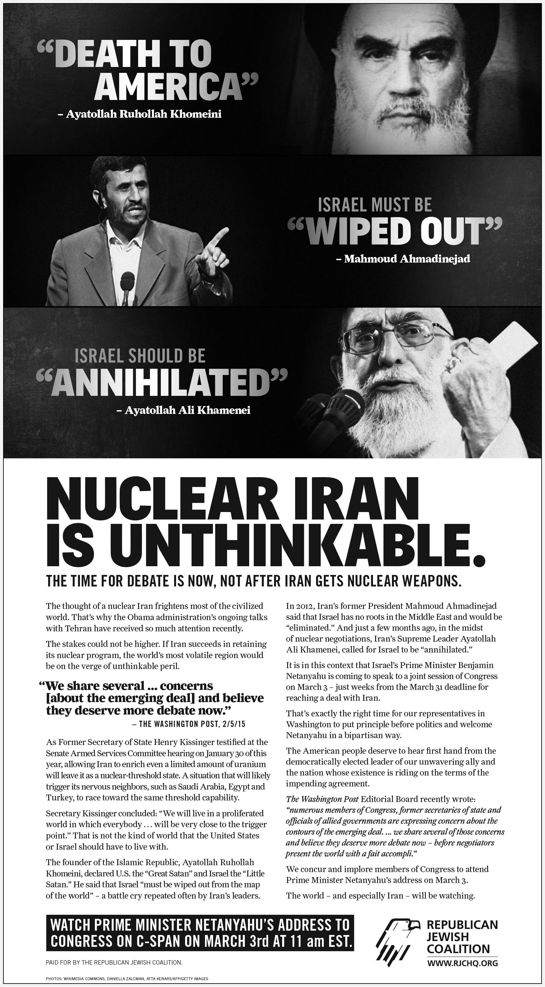 Republican Jewish Coalition - Unthinkable  Reed Award, Best Newspaper Ad for Public Affairs/Issue Advocacy Campaign