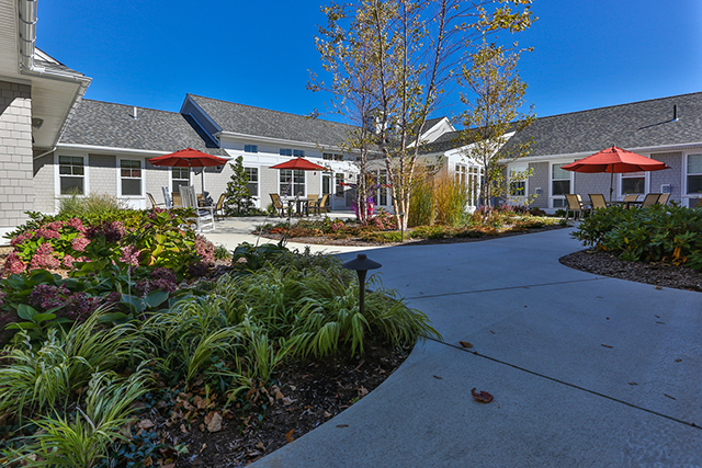 Avita Assisted Living opened in Newburyport, MA in 2016 with drought tolerant plantings throughout the four courtyards.