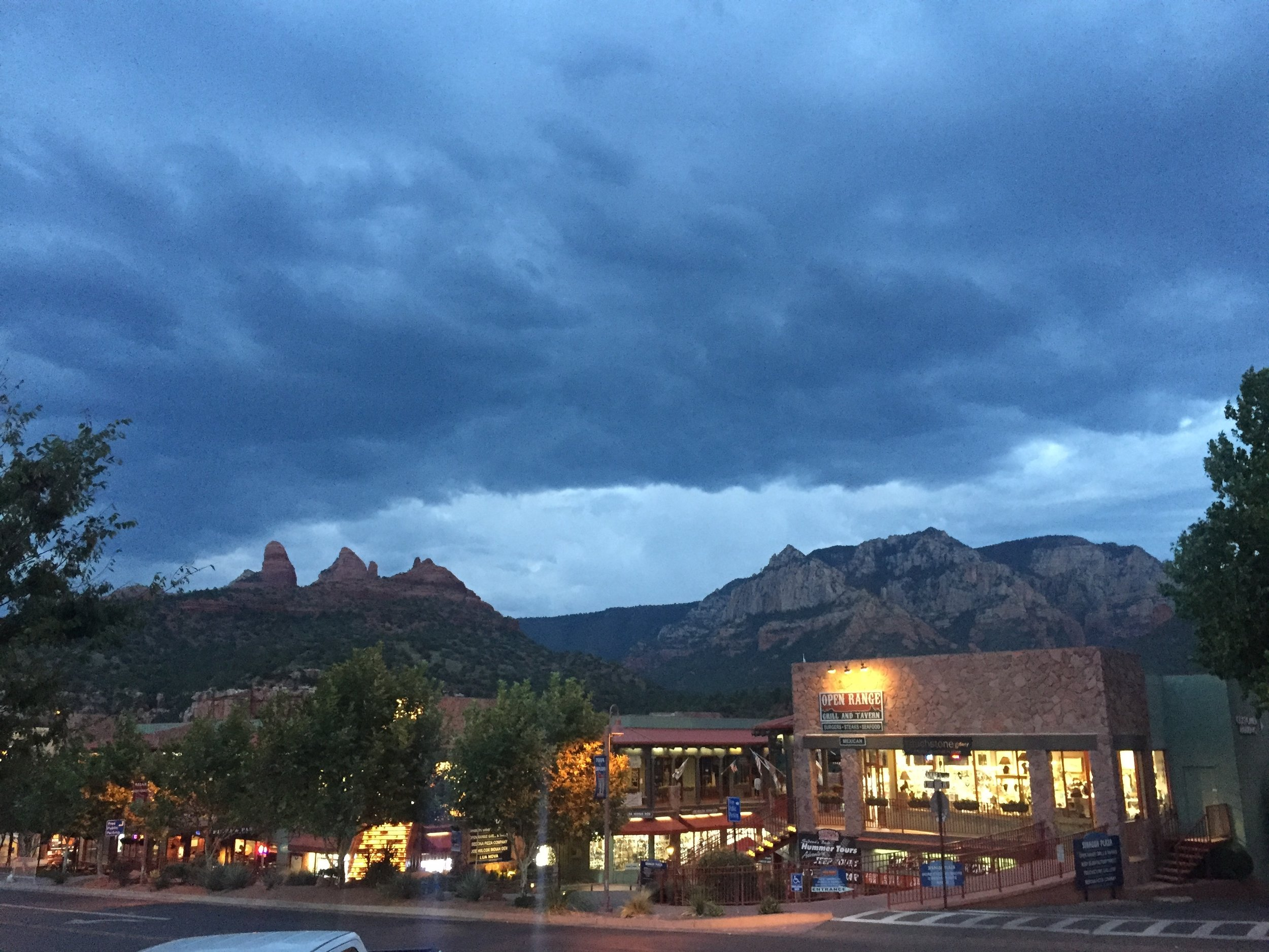 Sedona Storm Clouds. Its Monsoon Season. No wading in the river for us. After Harvey, even light rain makes me nervous!