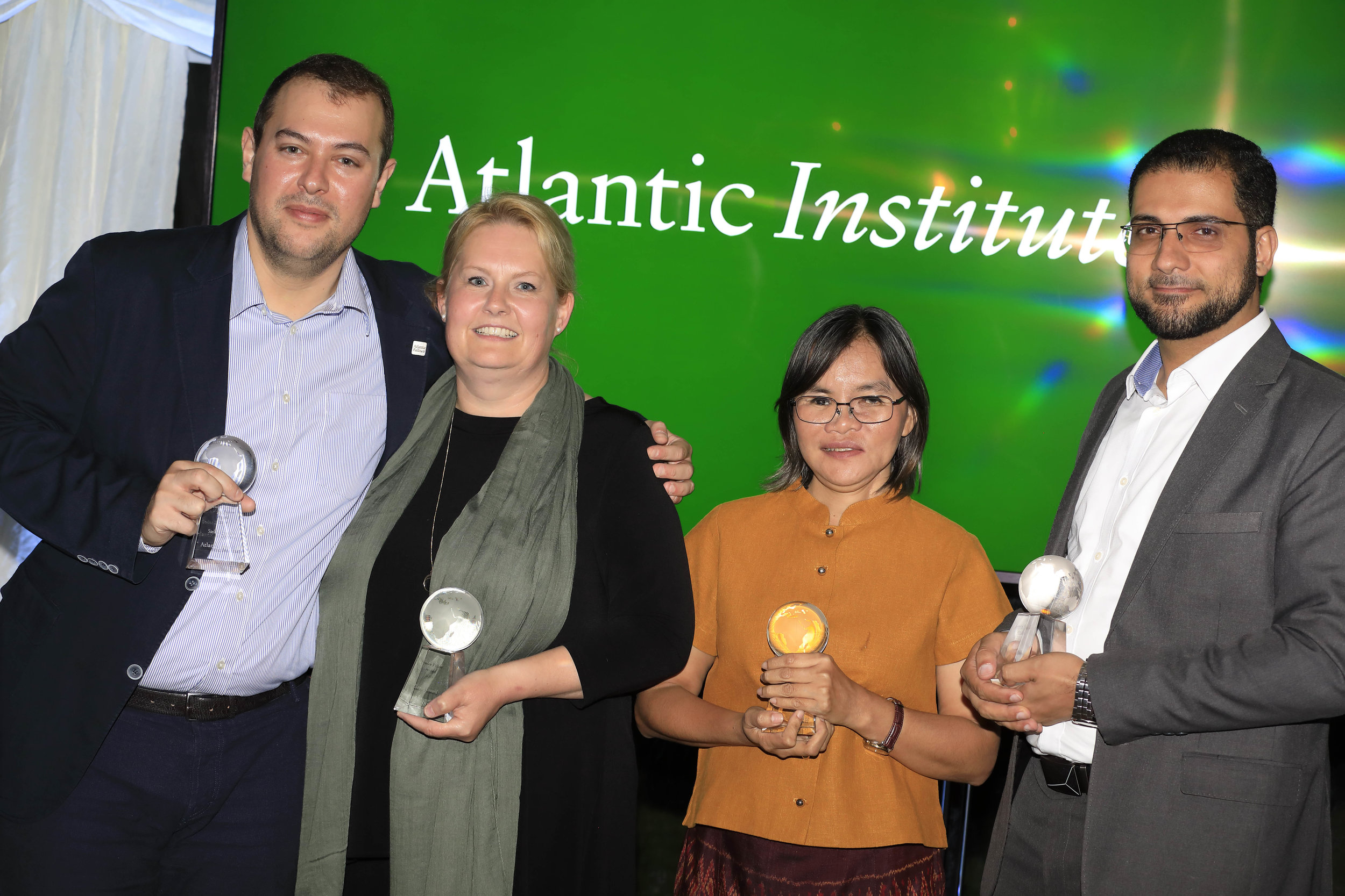 Winners of the inaugural Atlantic Senior Fellows Awards: Stelios Zygouris, Elaine Howard, Somporn Pengkam and Hany Ibrahim. (Beverly Ho, not in photo)