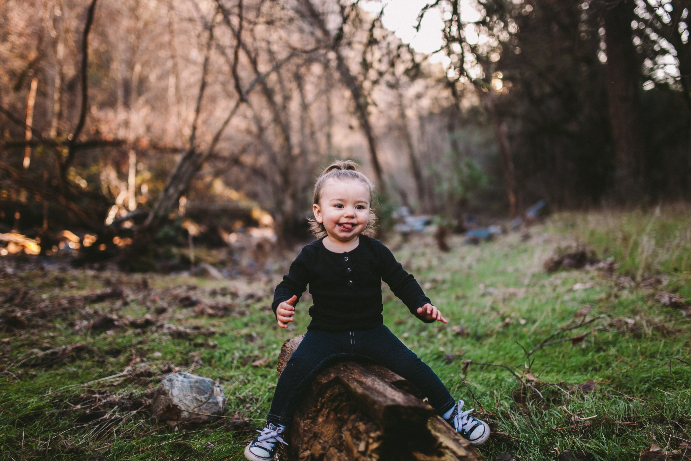 Toddler Sits on Log in Photography Portrait Northern Caliornia