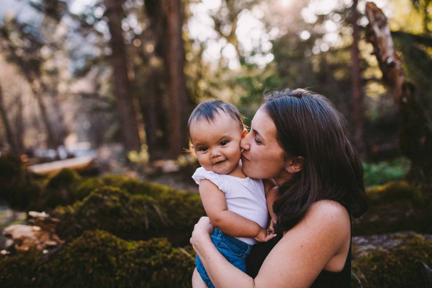 Mother and Daughter Kiss on Cheek Photography Portrait