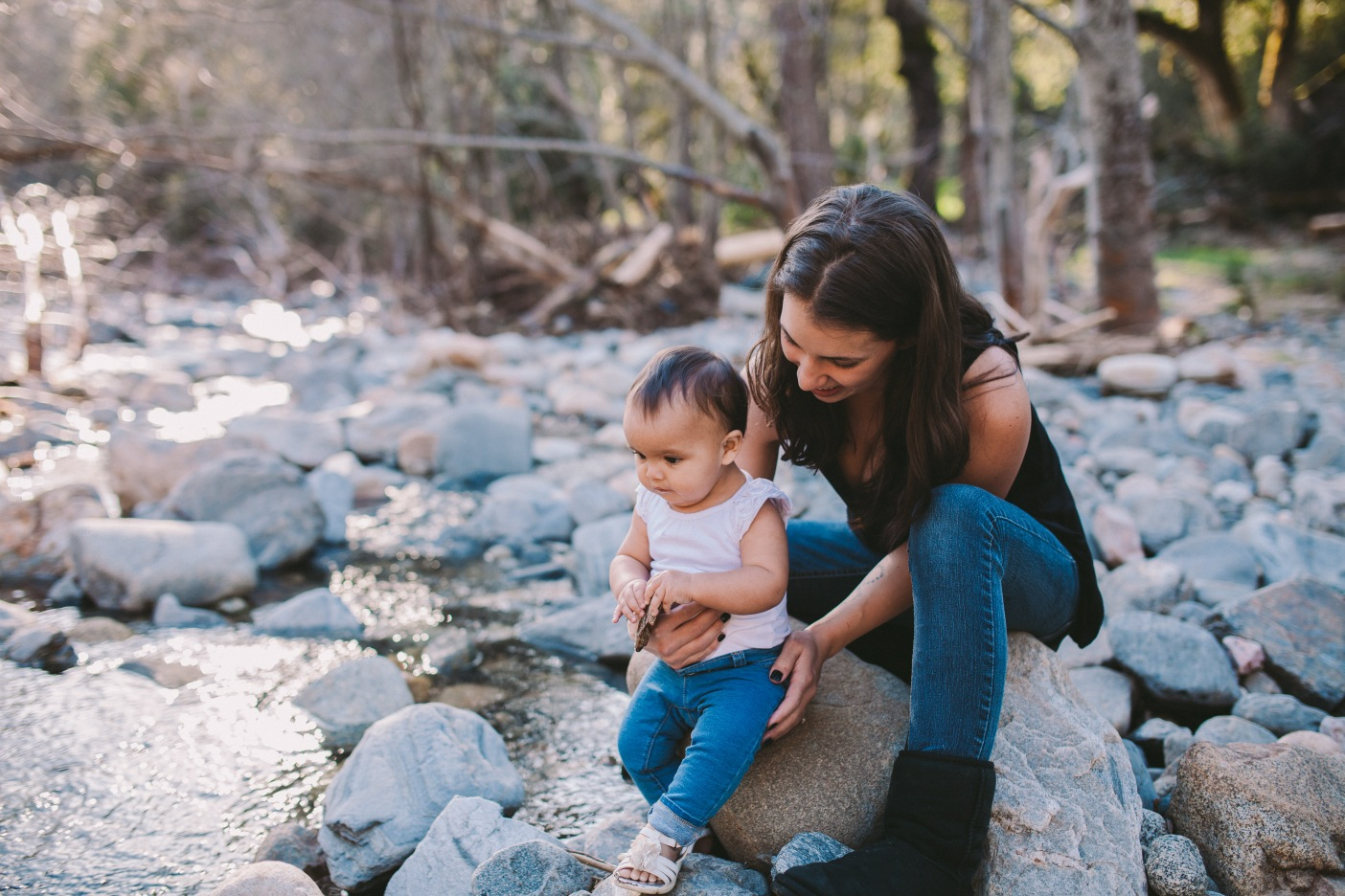 Mother & Daughter Matching Blue Jeans Family Photography Portrait