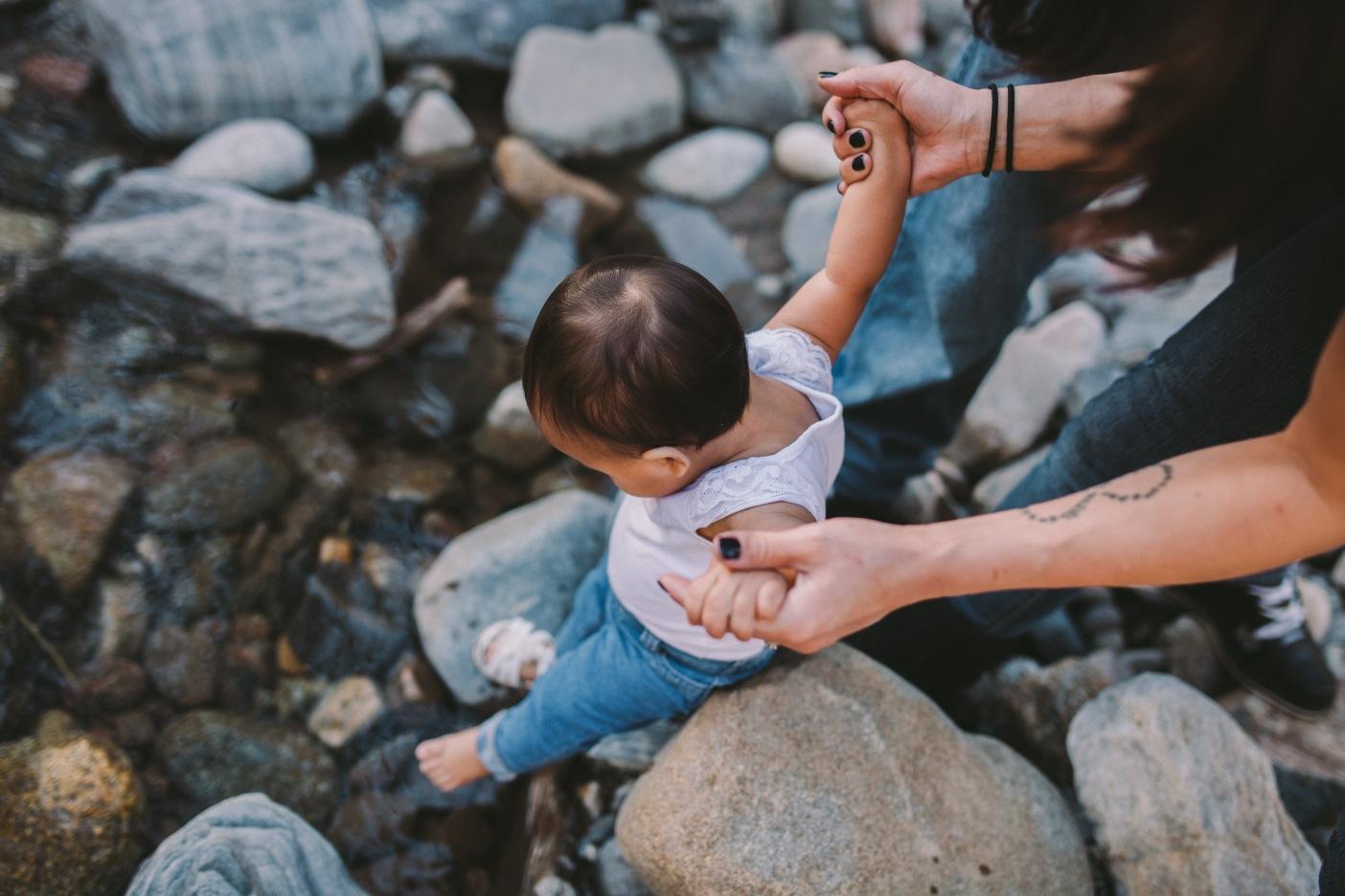 California Family Portrait Toddler Paddling in River