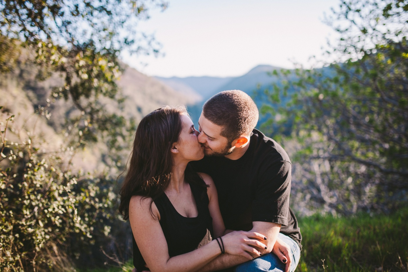 Mother & Father Couple Kiss Mountain Photography Portrait California