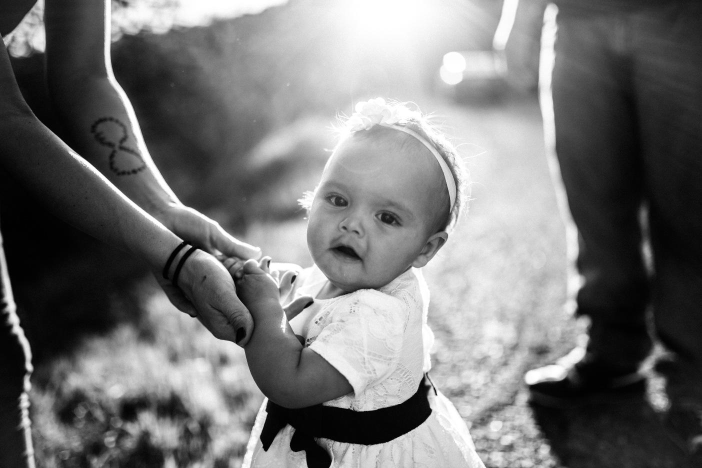 Black & White B&W Sun Flare Adorable Toddler Portrait Sierra Nevada Mountain Foothills