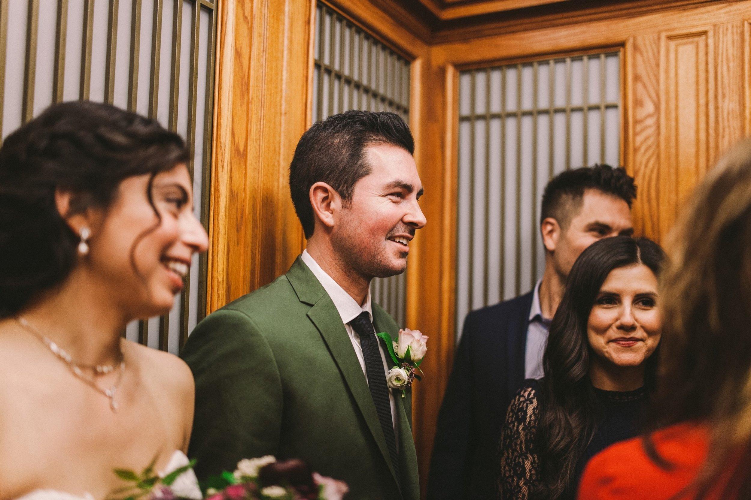 San Francisco City Hall Elevator Wedding Party