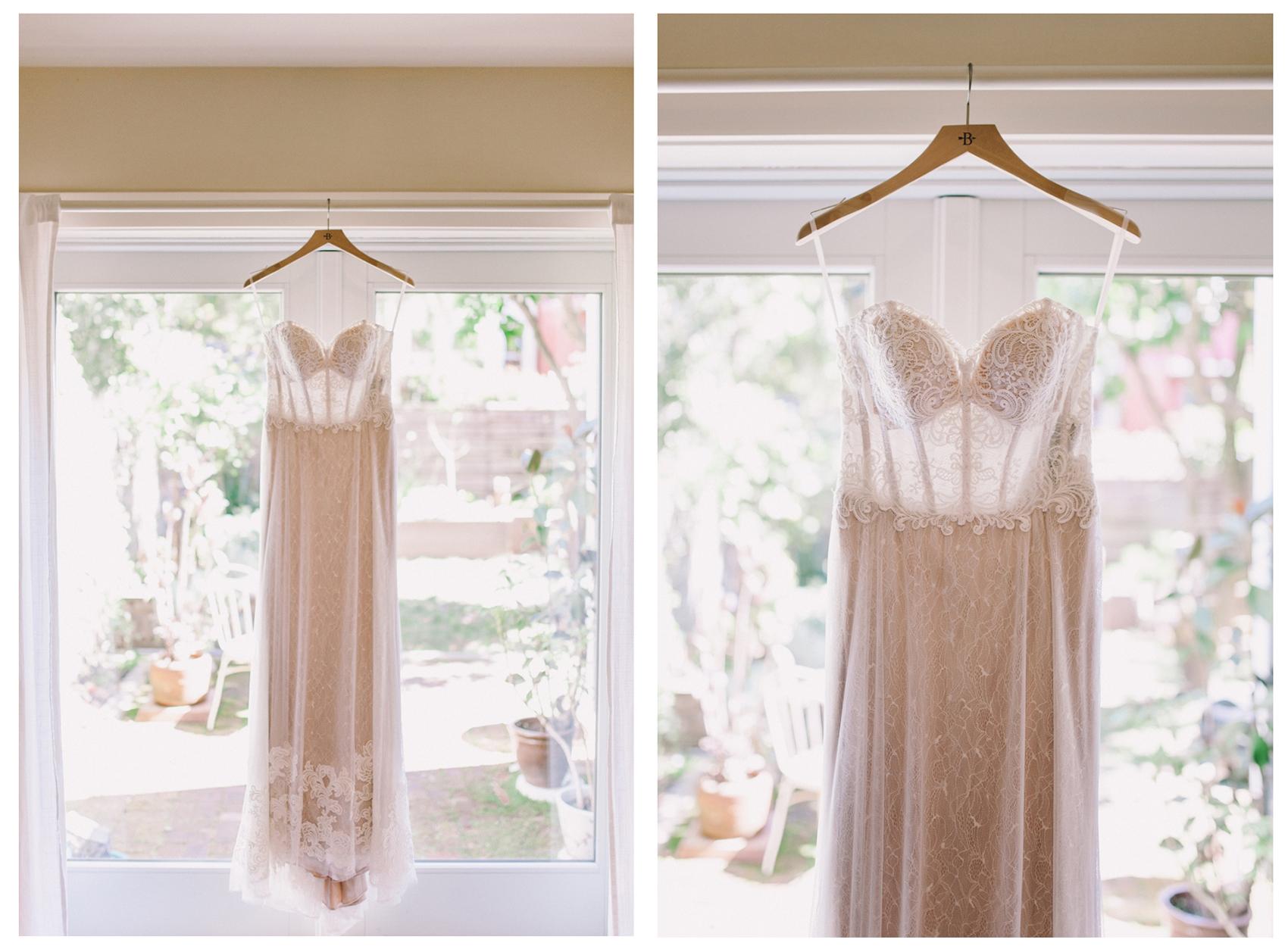 Anthropologie BHLDN Lorena Gown Wedding Dress Hanging in Front of Window