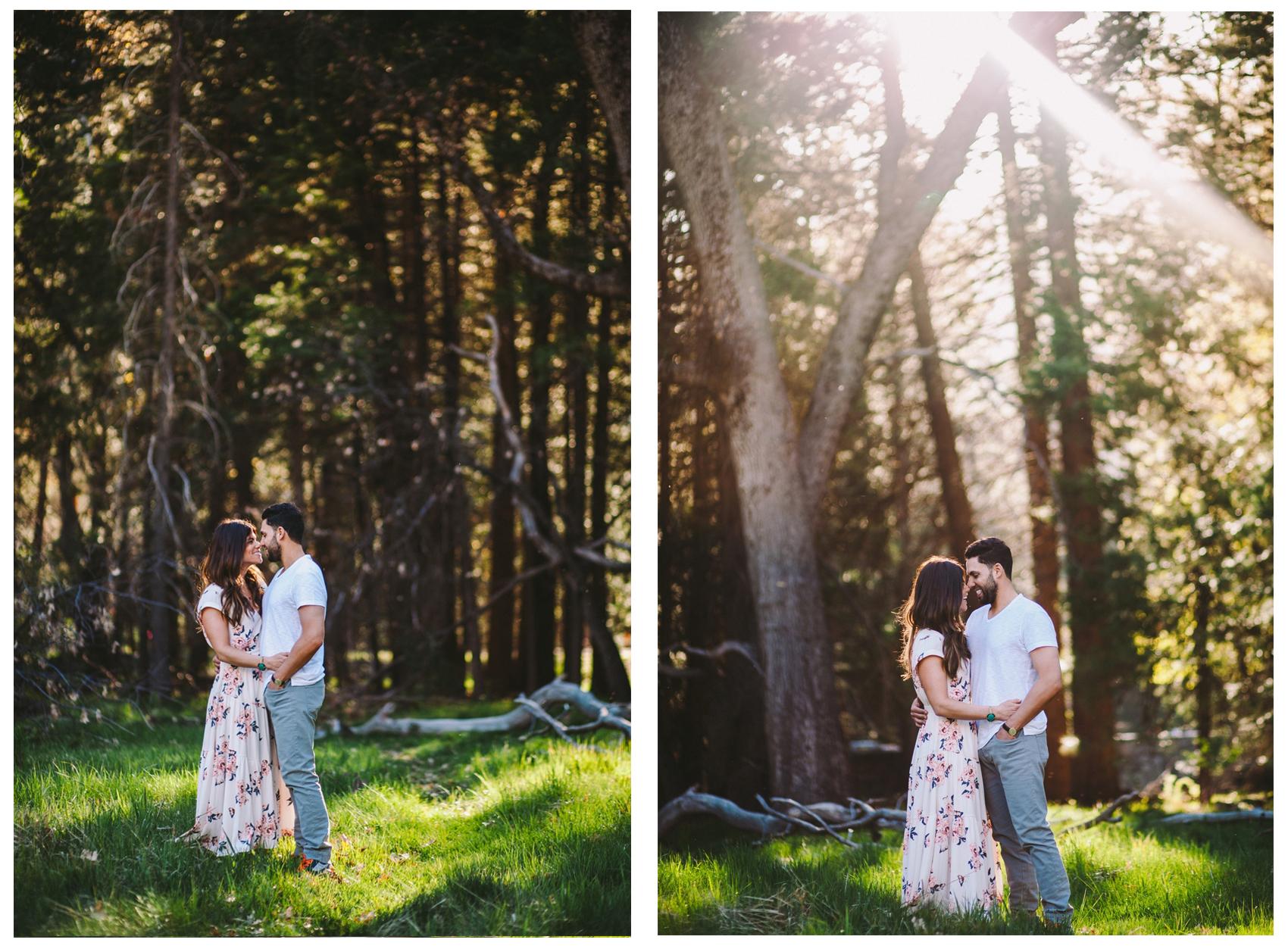 Couple & Sun Flare in Yosemite Woodland