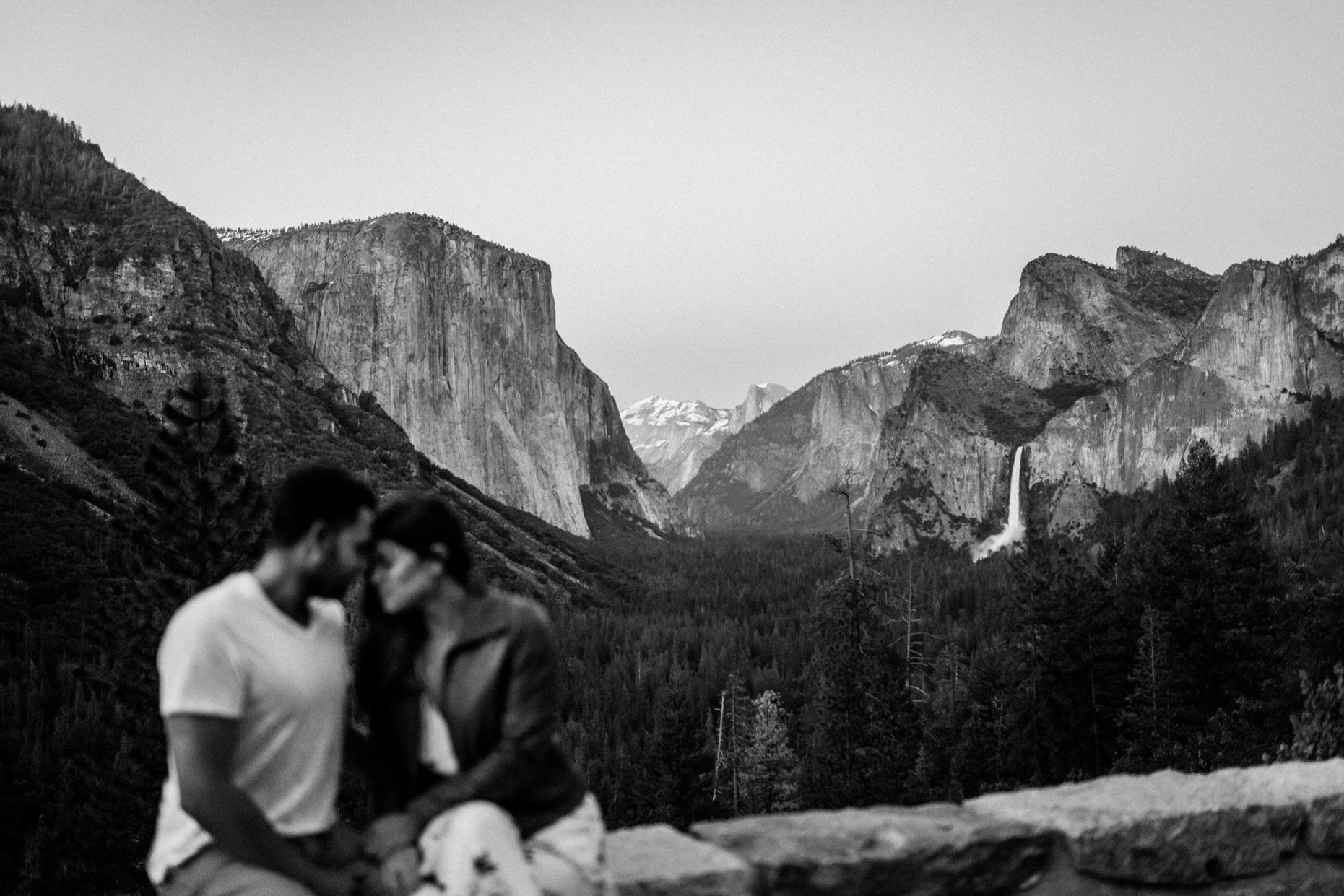 Couple with Yosemite Vista in B&W