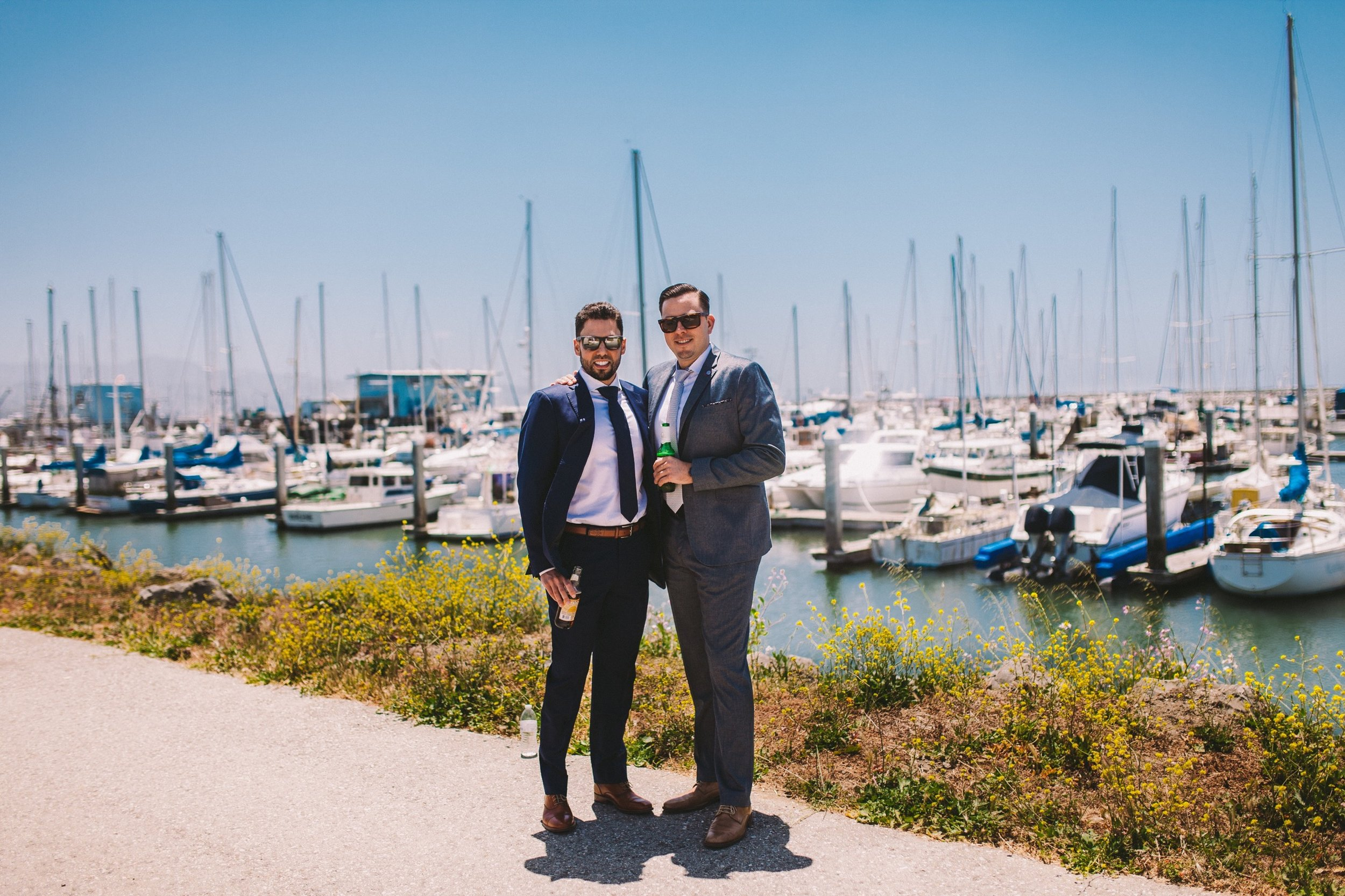Groom & Best Man Portrait Half Moon Bay by Ocean