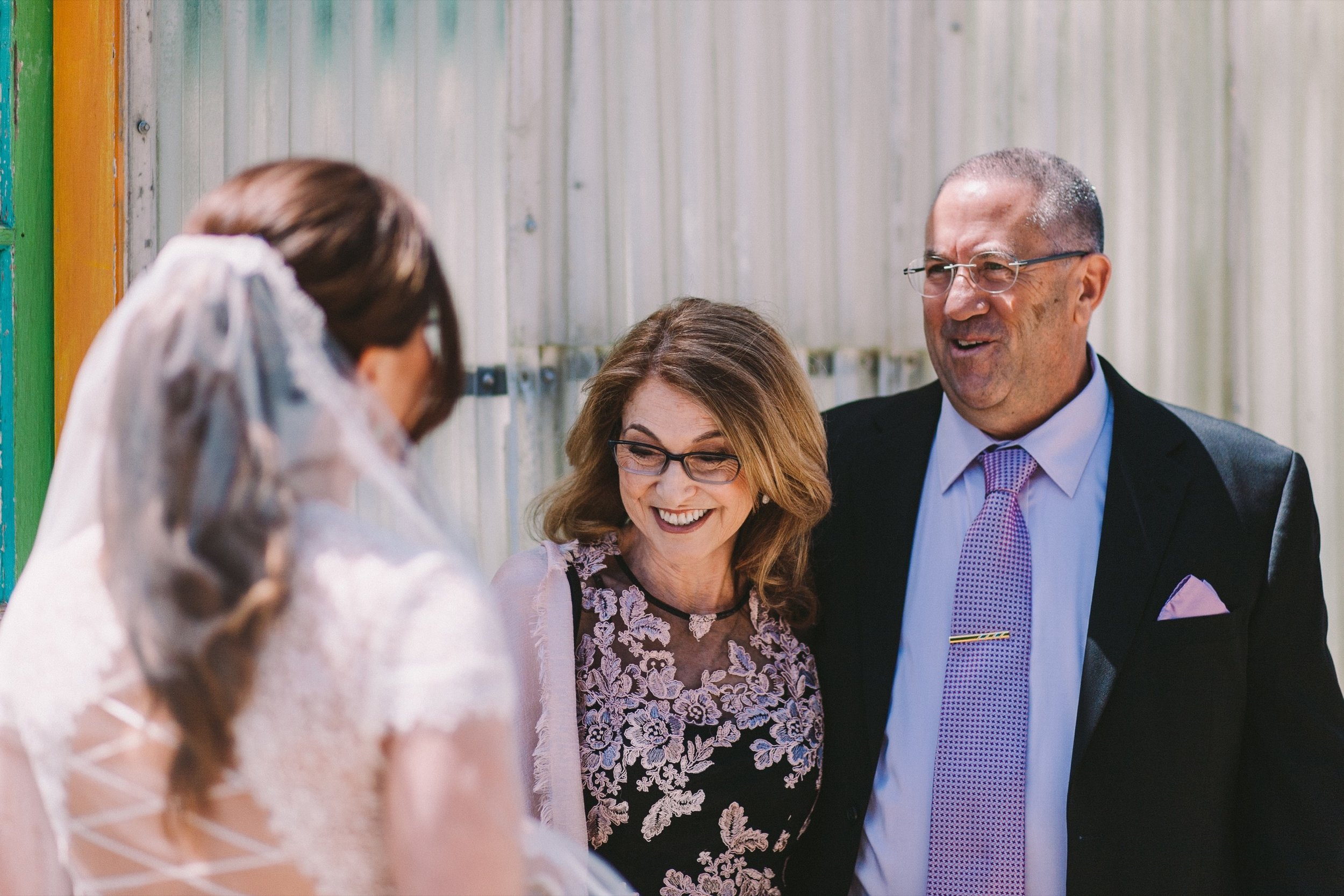 Bride First Look with Parents Pacifica Modern Jewish Wedding