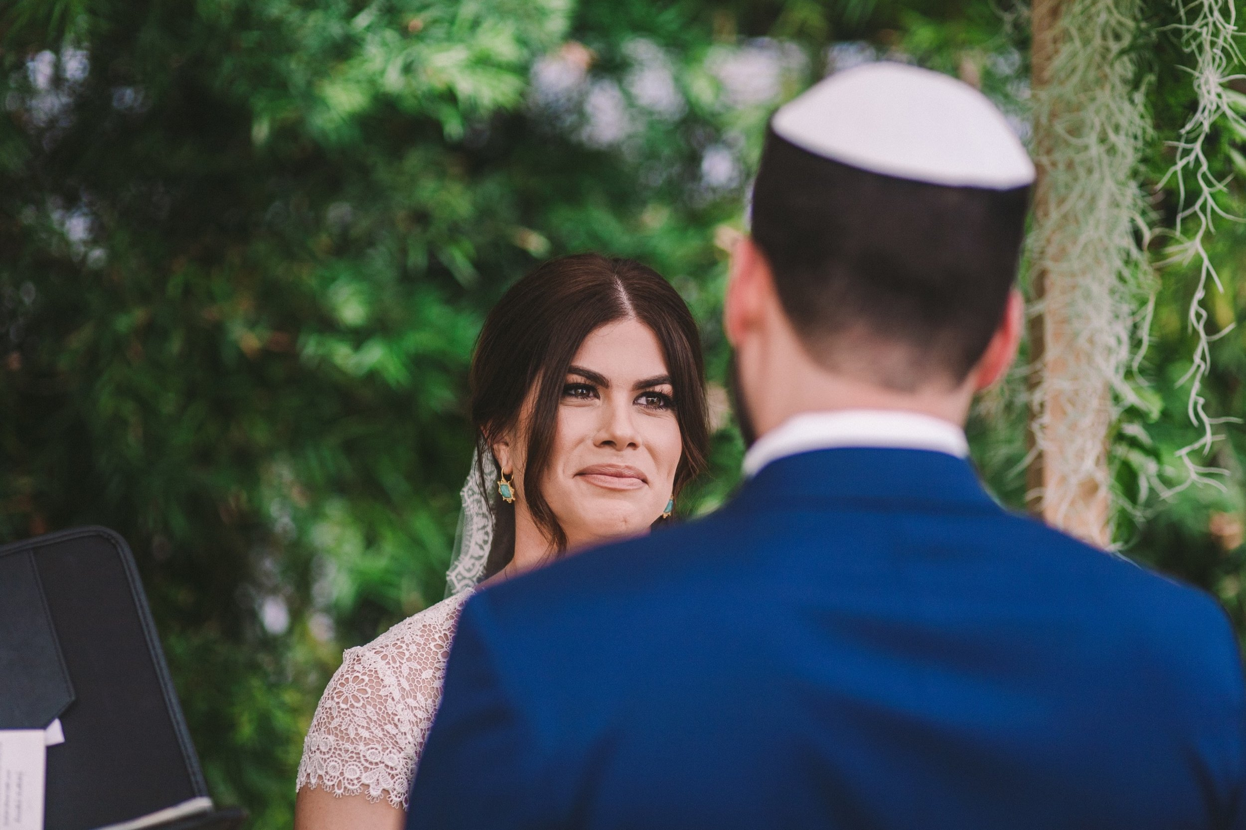 Tearful Happy Bride at Modern Jewish Wedding in Shelldance Orchid Gardens