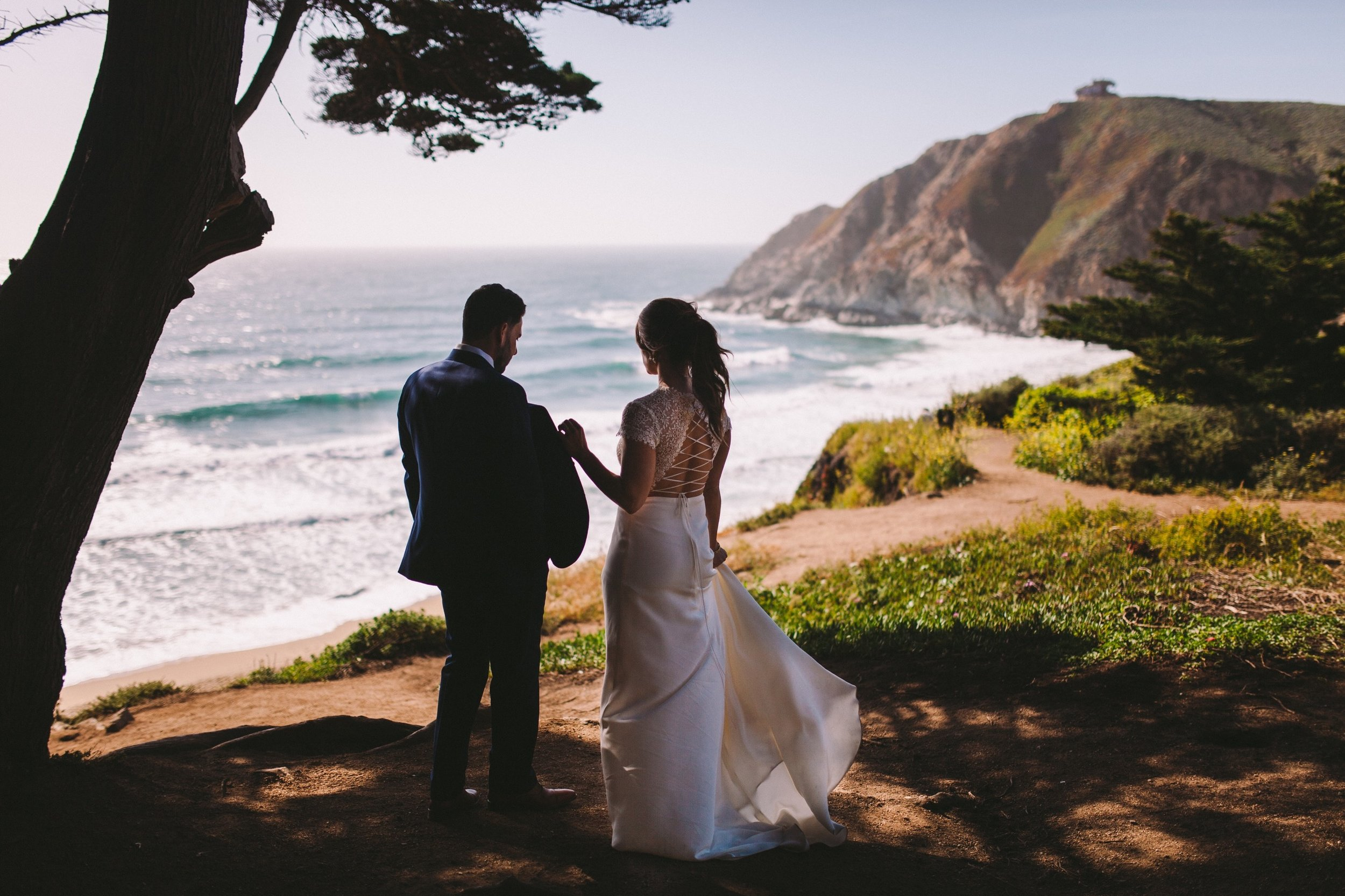 Route One Gray Whale Cove Bride & Groom Wedding Portrait