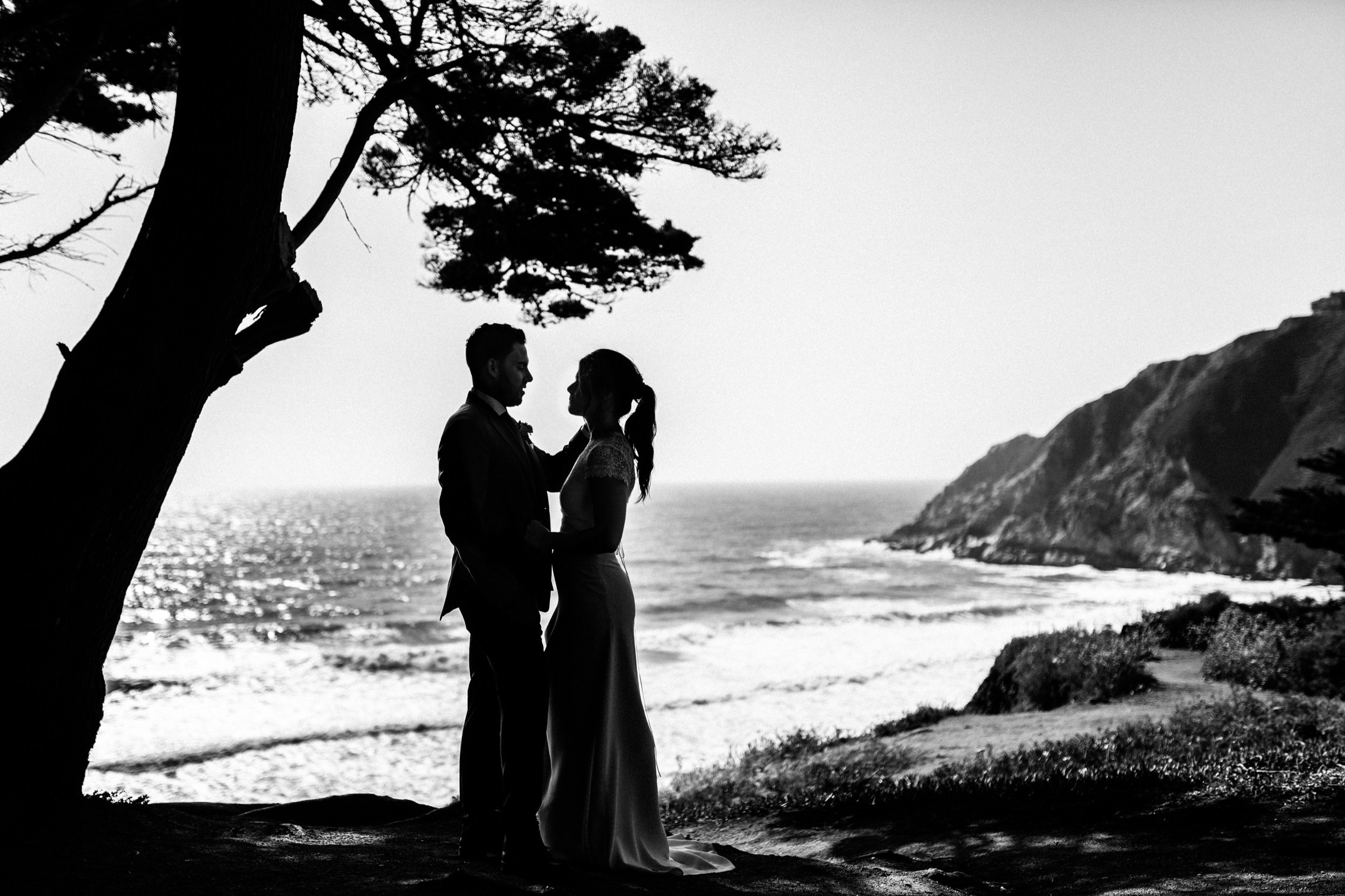 Bride & Groom Silhouette Black & White Gray Whale Cove