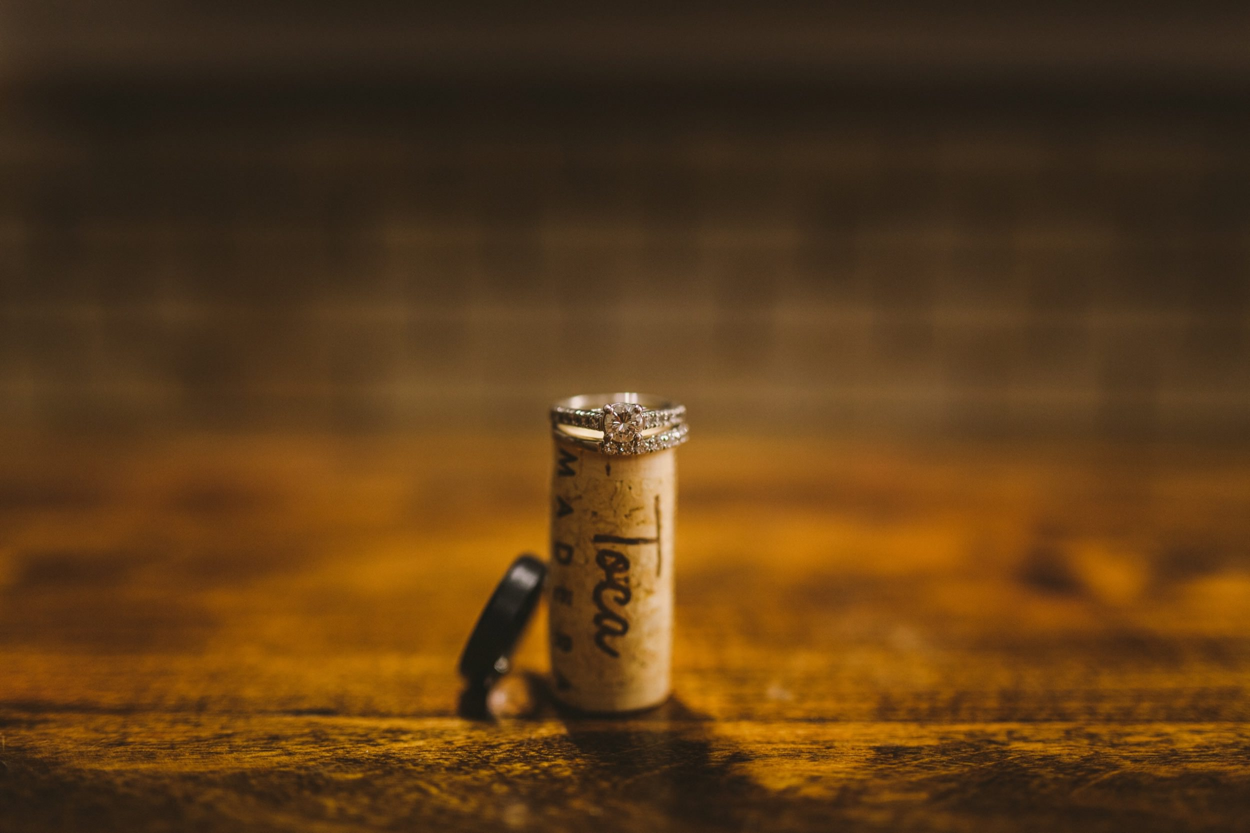 Wine Cork Wedding & Engagement Ring Shot