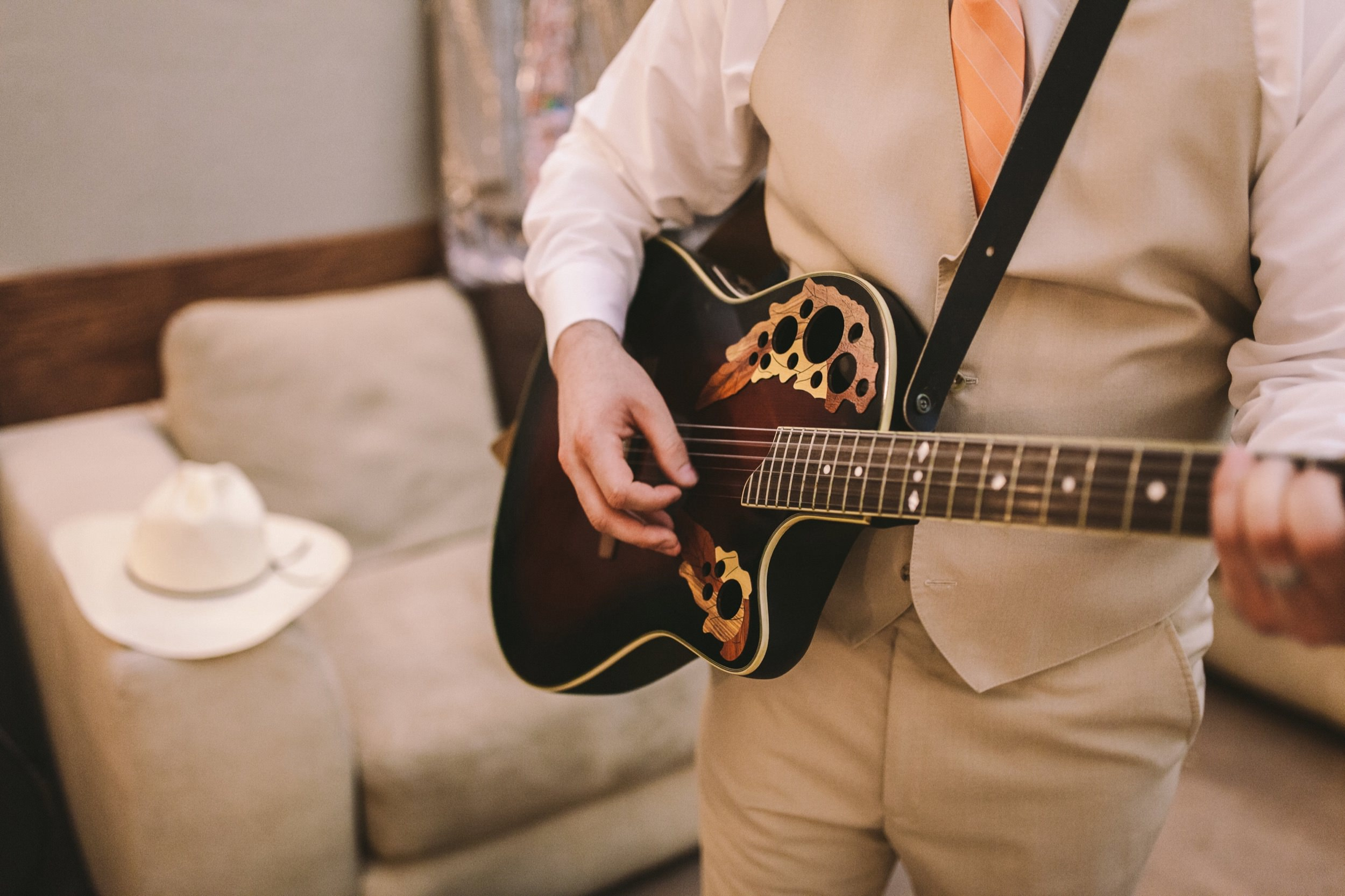 Groom Wedding Prep Guitar Playing Groomsmen