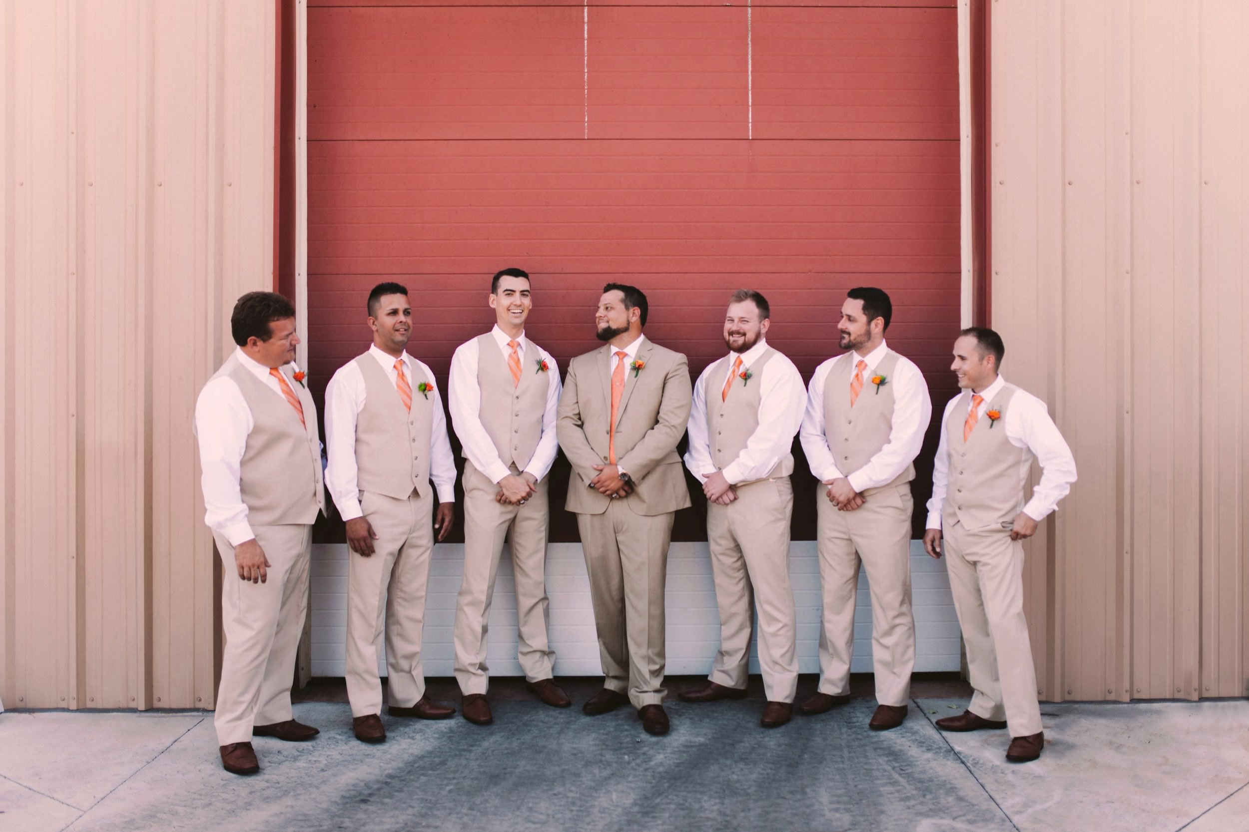 Pink and Orange Wedding Theme Groomsmen