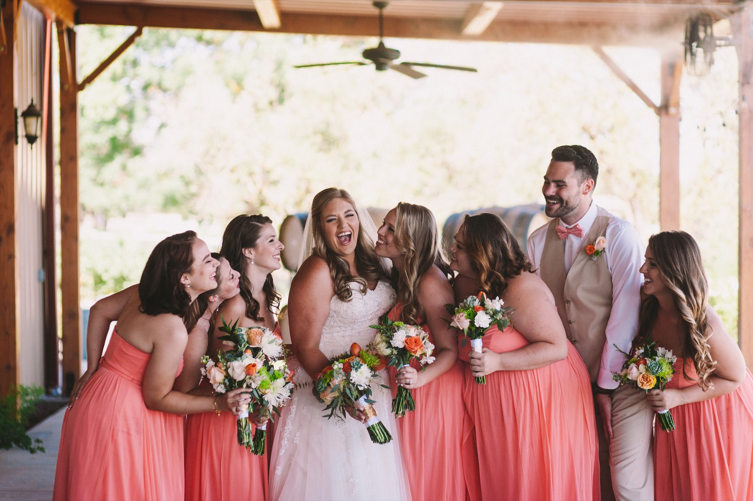 Colorful Bridal Group Shot - Bridesmaids in Pink Bridesman in Pink Bowtie Co-ordination