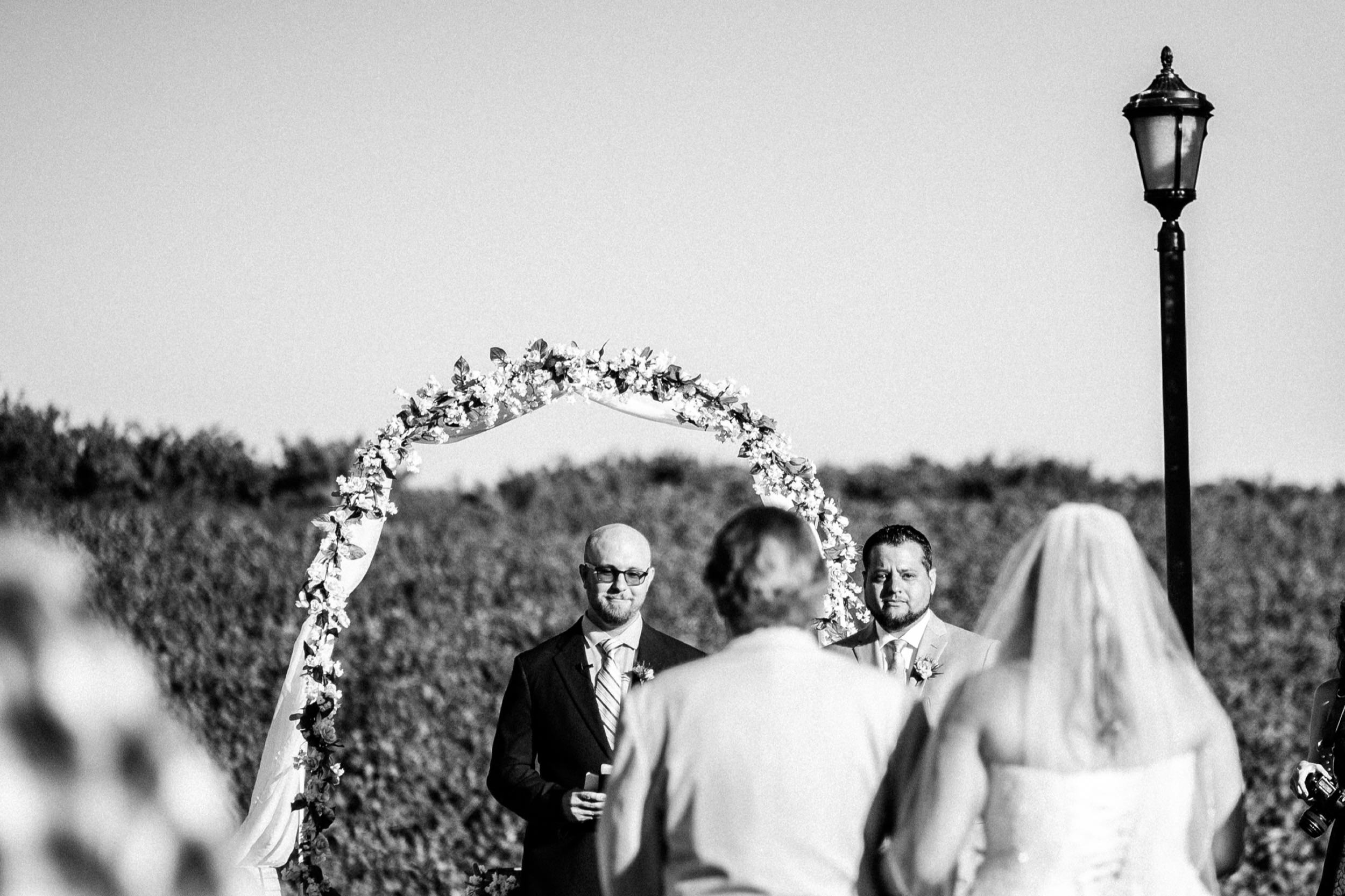 Tearful Groom Sees Bride for the First Time During Outdoor Vineyard Wedding Ceremony - Fresno Madera