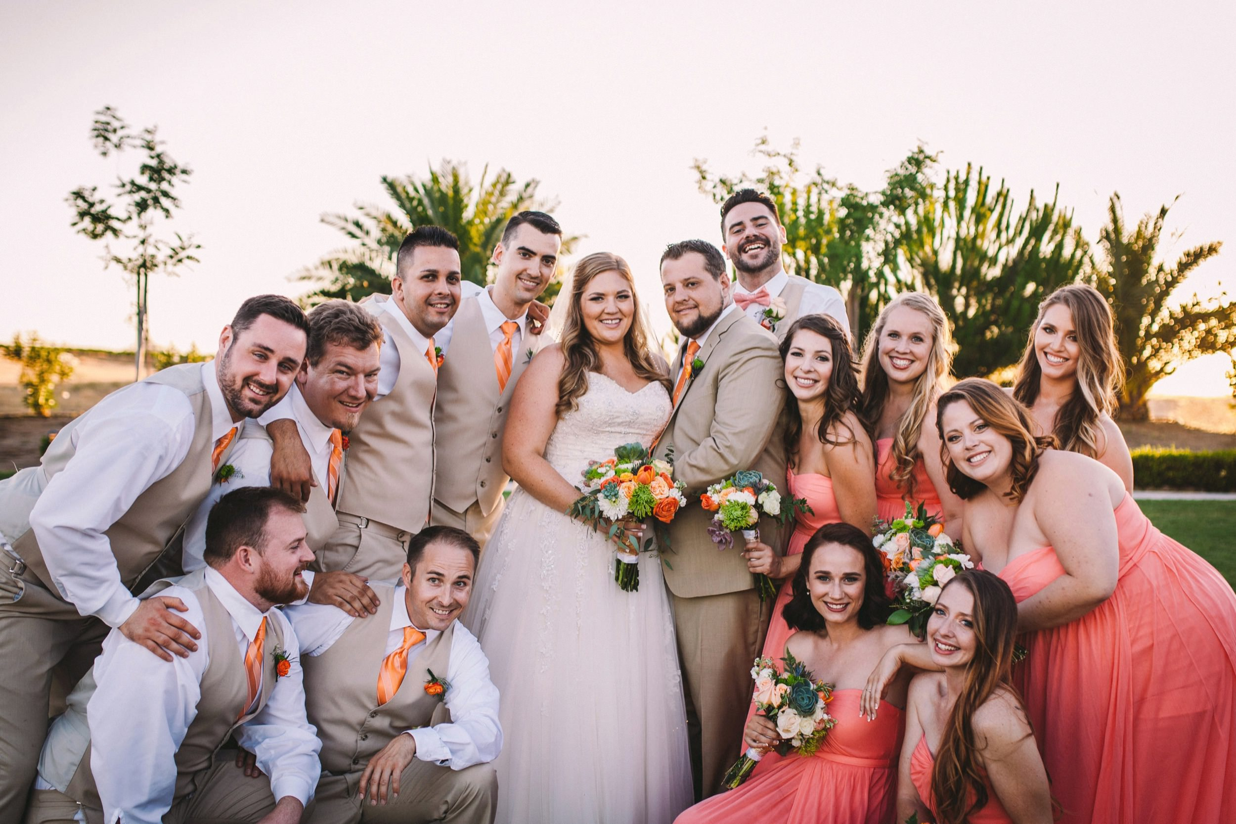 Fun & Informal Bridal Party Group Portrait Wedding Photography - Pink & Orange Theme