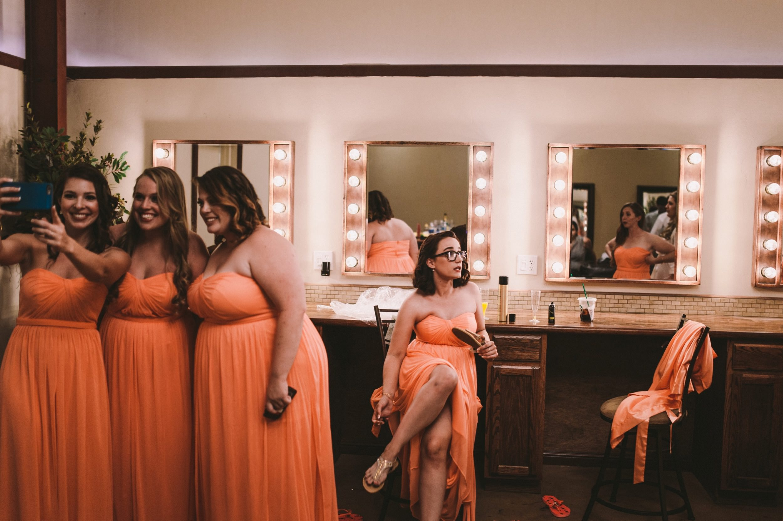 Bridal Prep Suite with Illuminated Vanity Mirrors Wedding