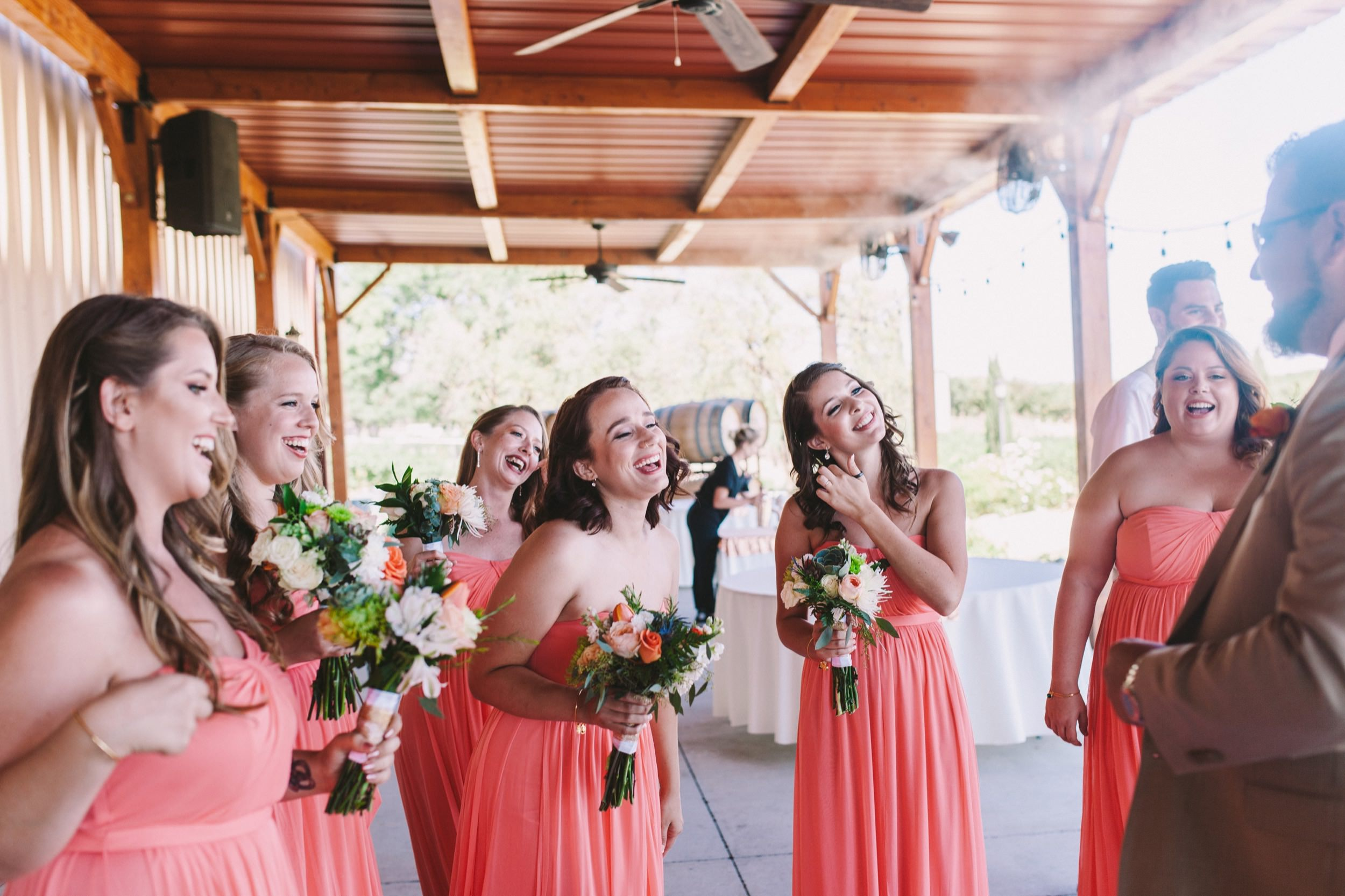 Pink and Orange Wedding - Bridesmaids in Pink with Orange and Pink Bouquets Florals