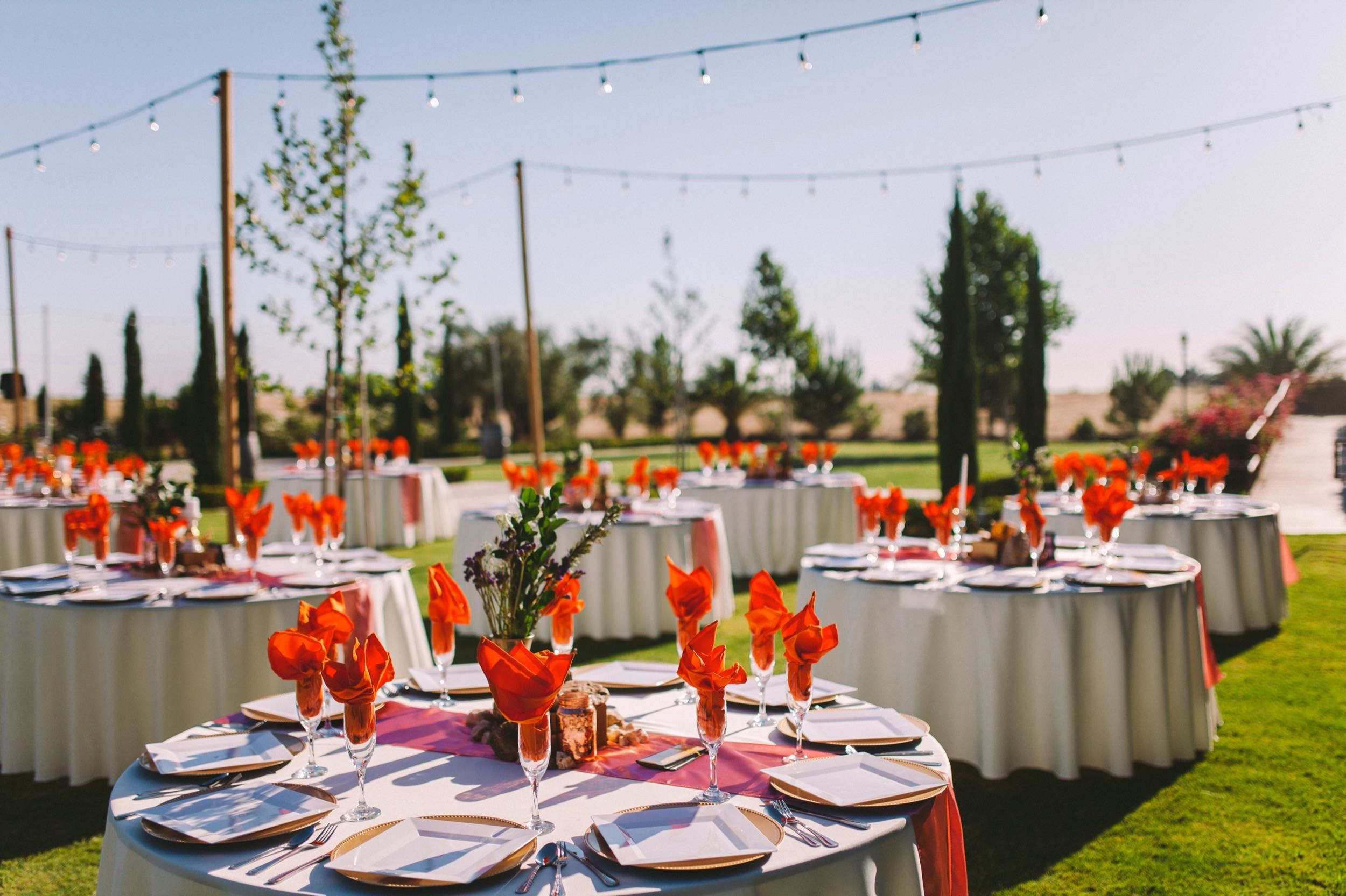 Pink and Orange Wedding Tables Reception Color Theme