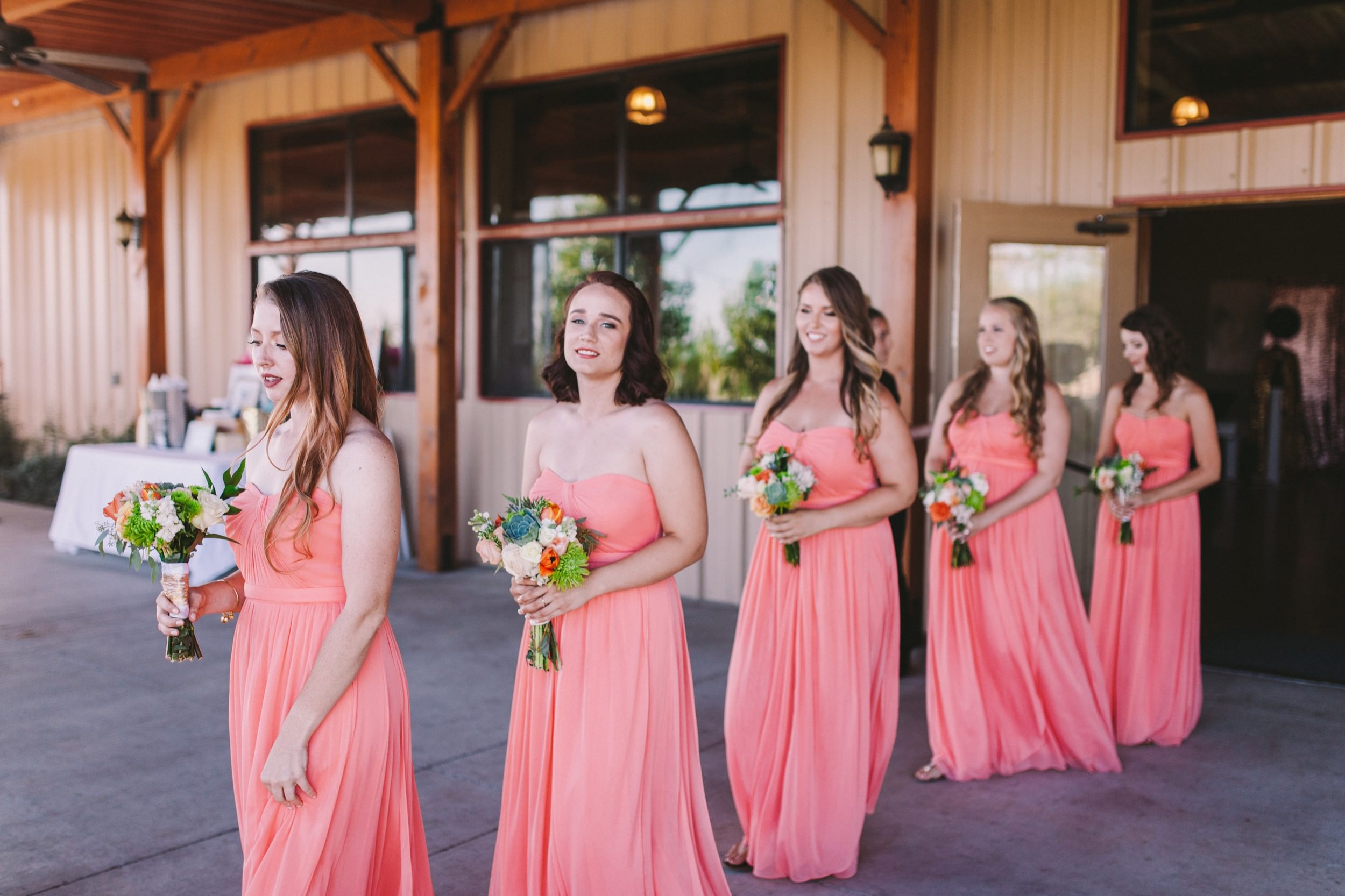 Pink & Orange Themed Wedding Bridesmaid Outfits