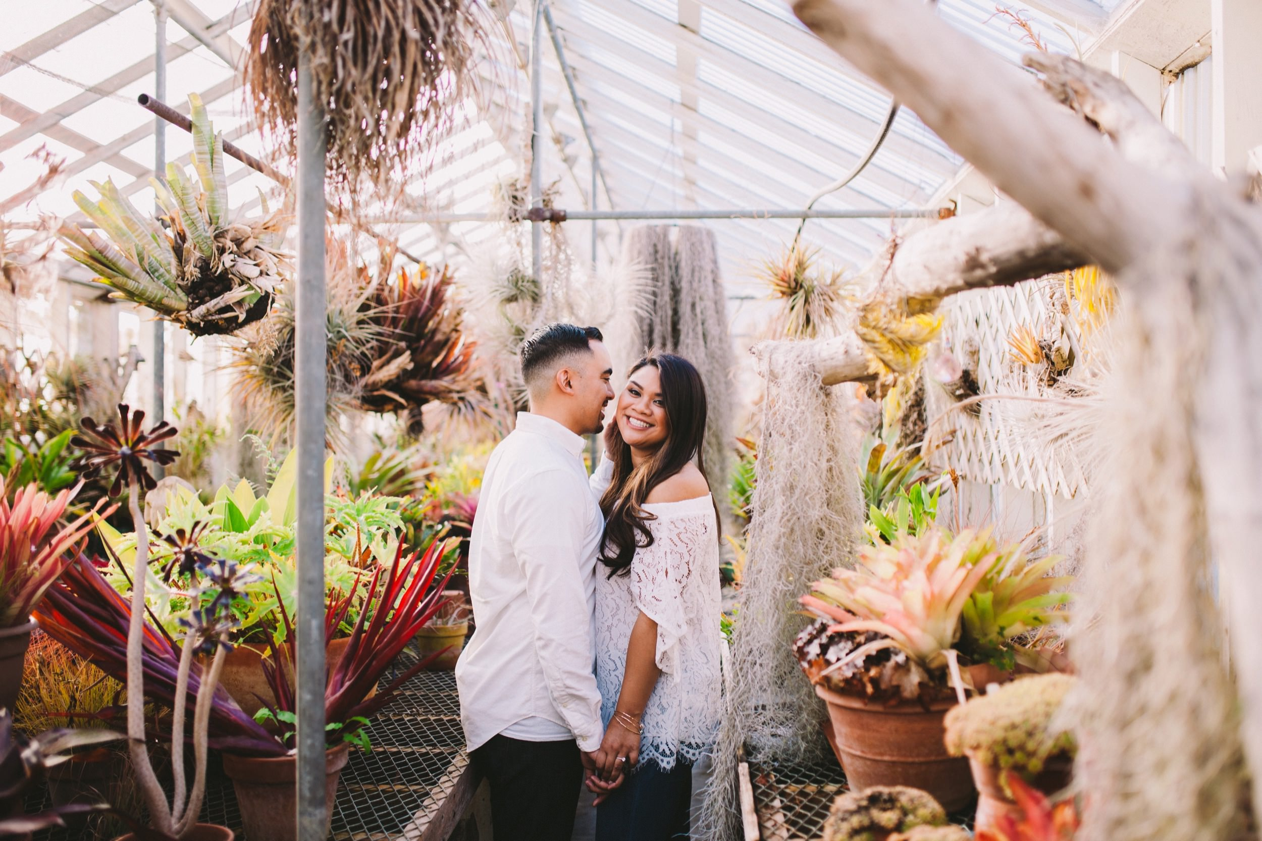 Shelldance Orchid Gardens Greenhouse Engagement Session Pacifica 26.jpg