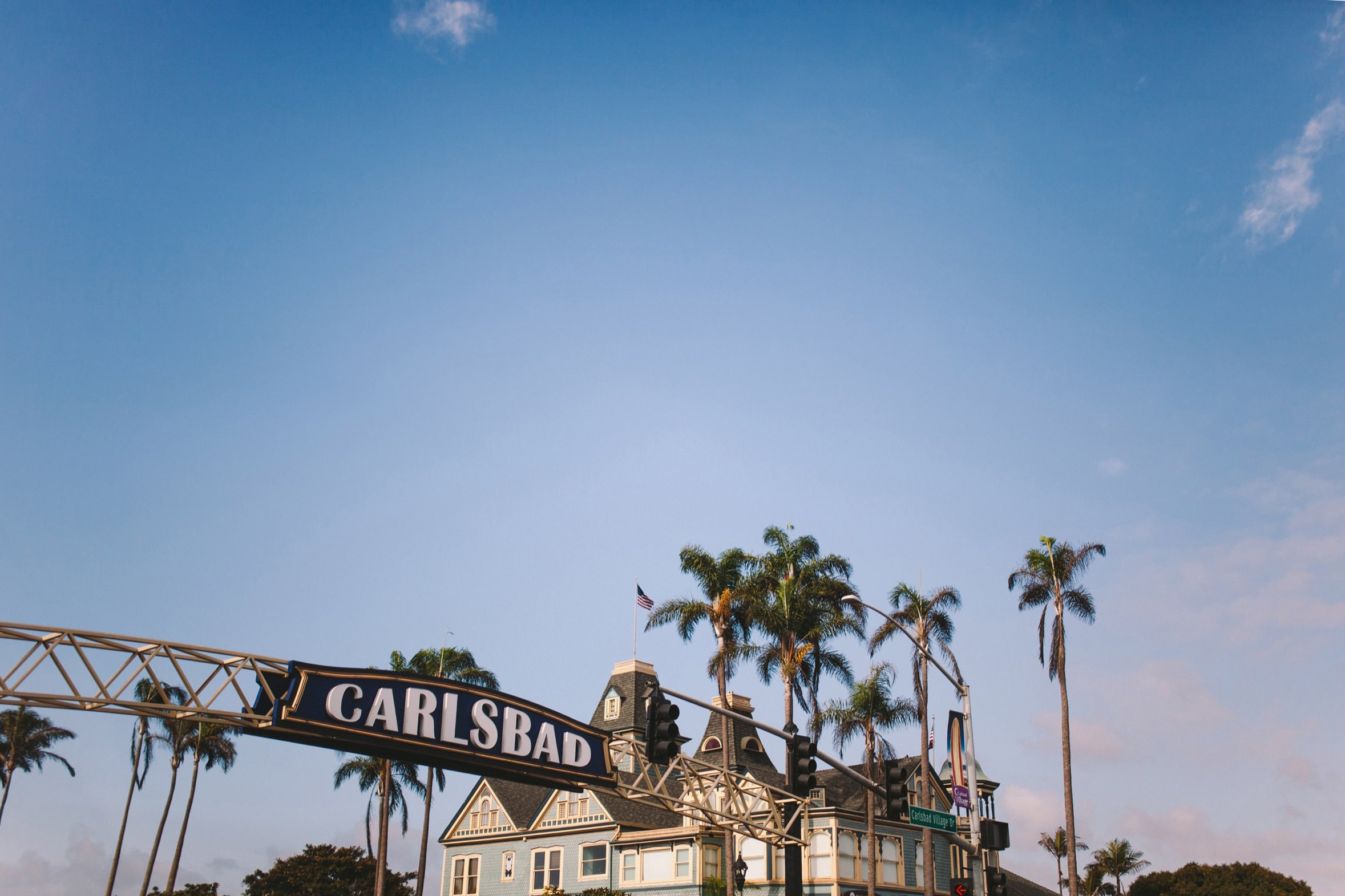Carlsbad Sign Wedding Day Shot