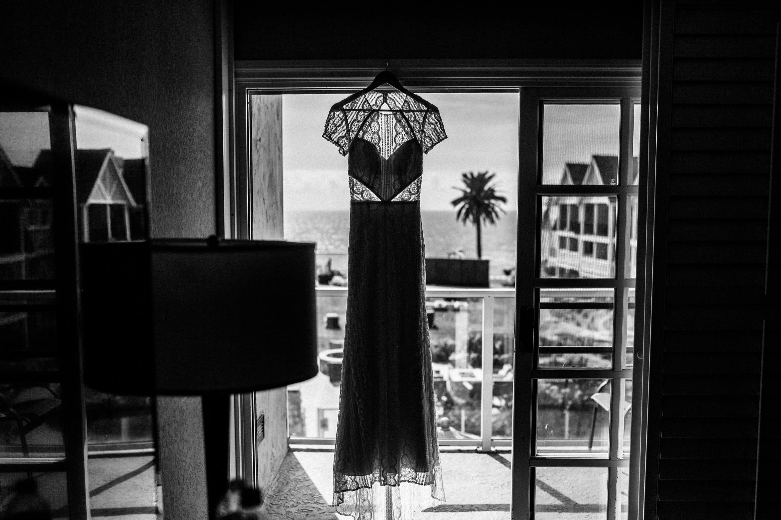 Wedding Dress Hanging in Carlsbad Inn