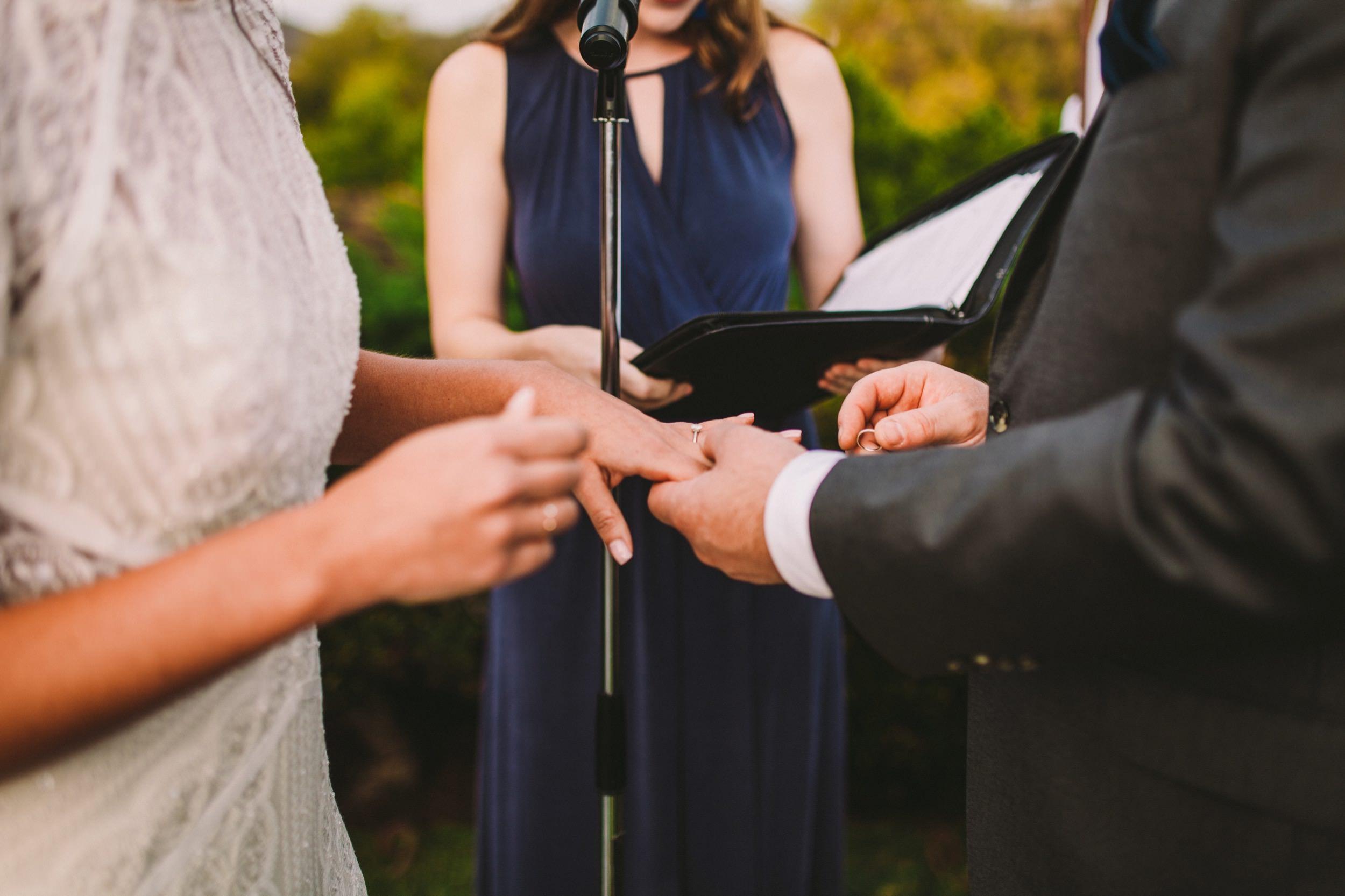 Close up of Wedding Ring Exchange at Old Rancho Carlsad