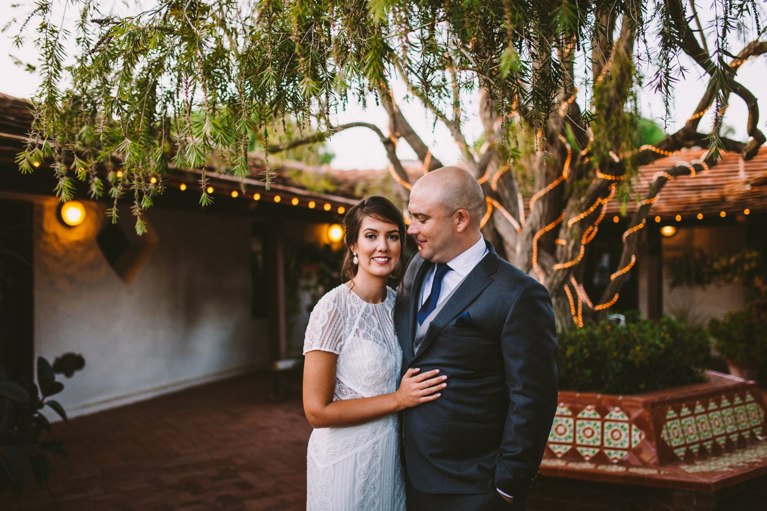 Bride & Groom In Front of the Pepper Tree at The Old Rancho in Carlsbad