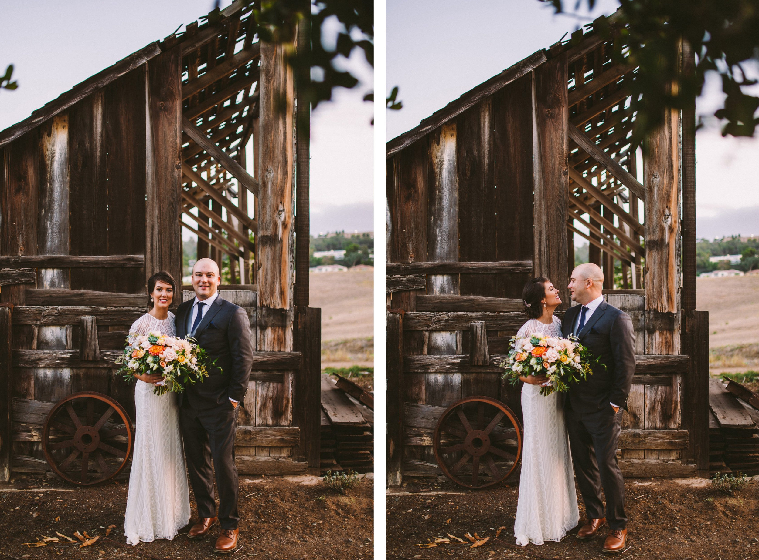 Bride & Groom In Front of Barn at The Old Rancho in Carlsbad