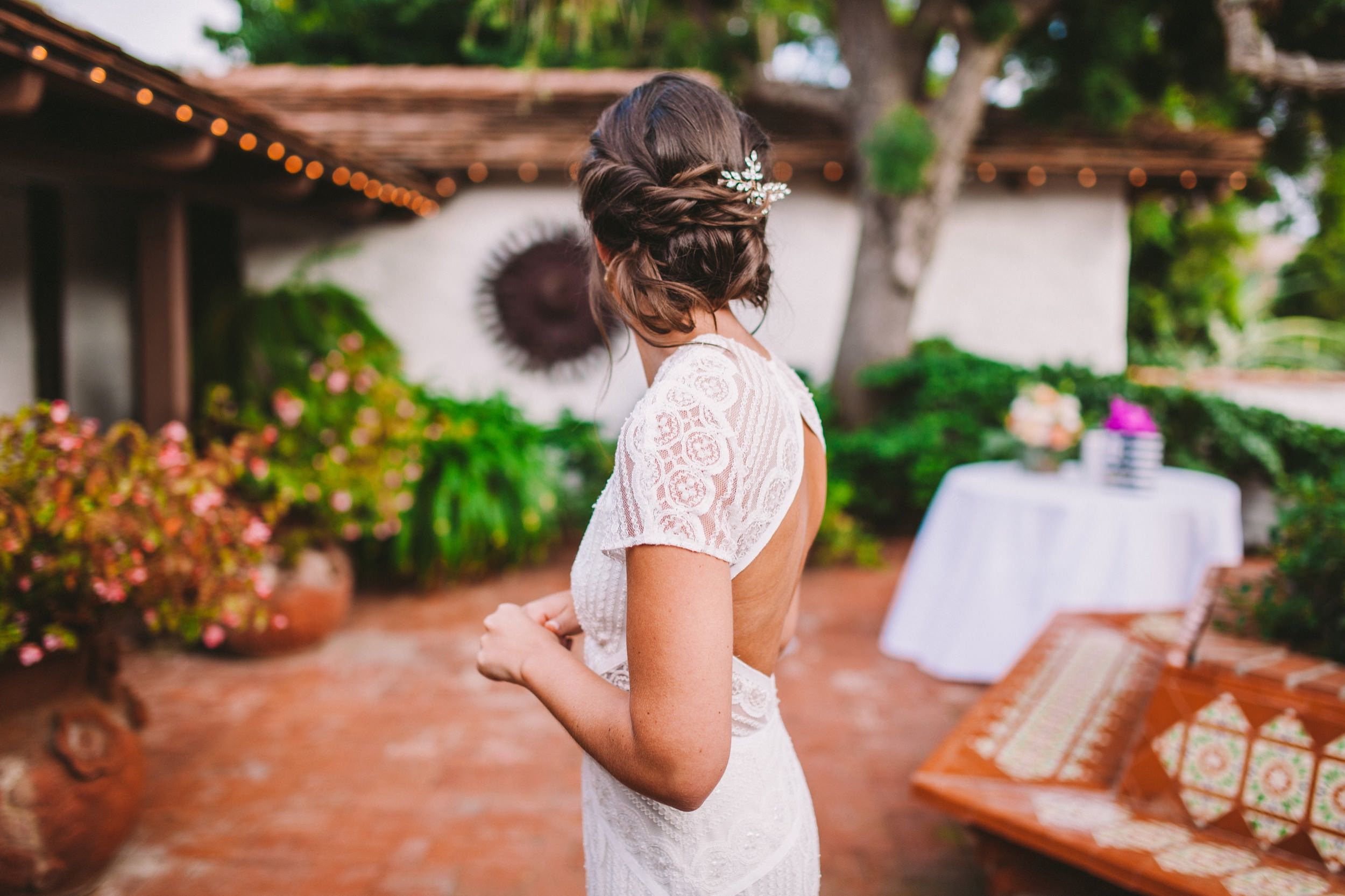 Bride Waiting by Chili Tree at The Old Rancho Entrance in Carlsbad