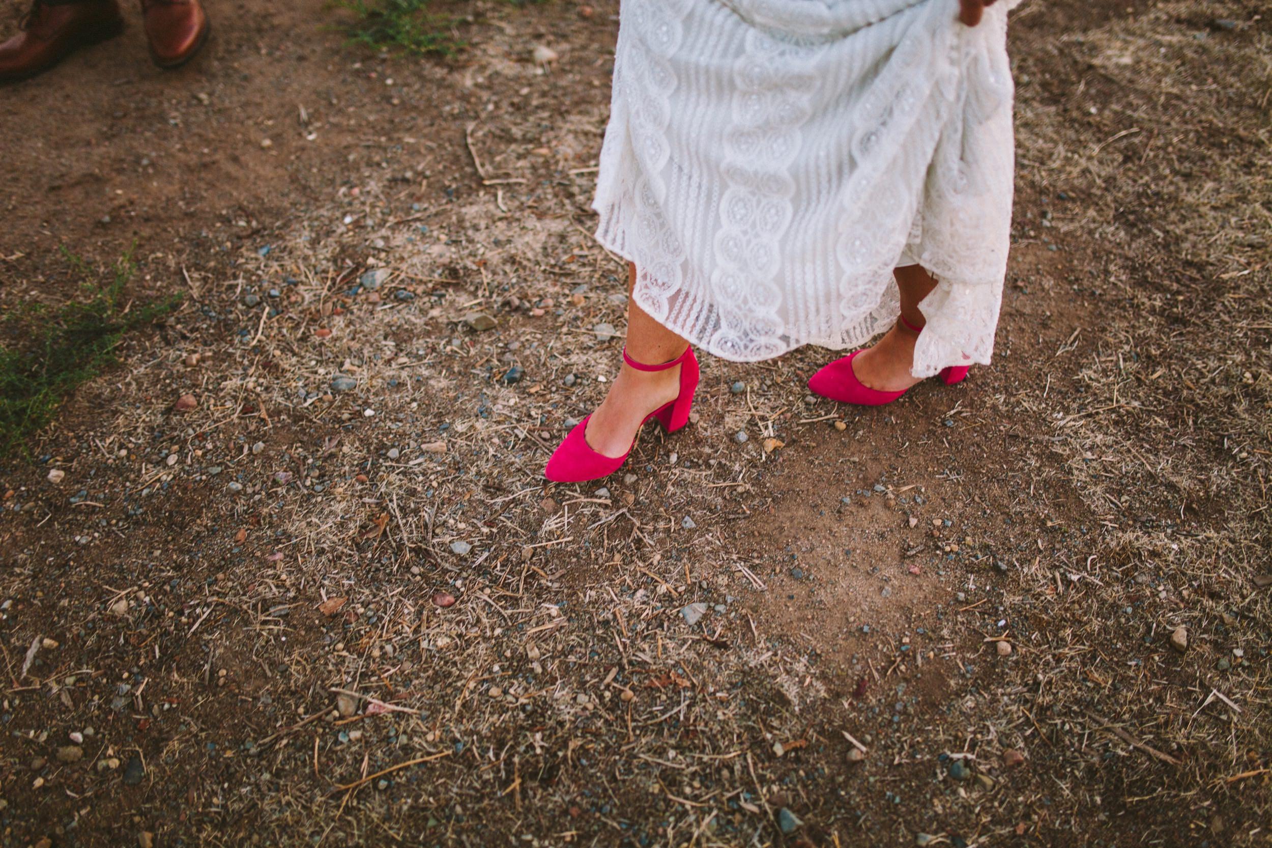 Bride Wearing Pink Carmen Salas Wedding Day Shoes
