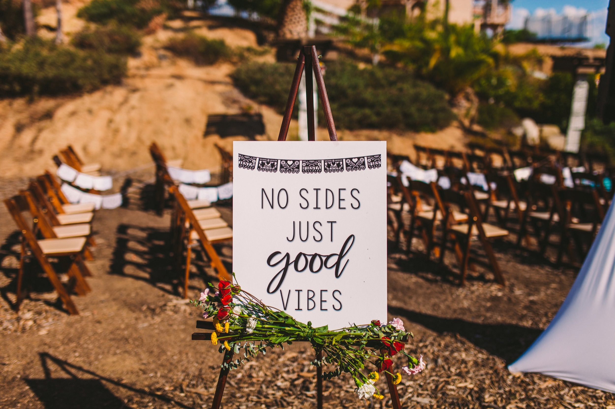 No Sides Just Good Vibes Wedding Day Sign