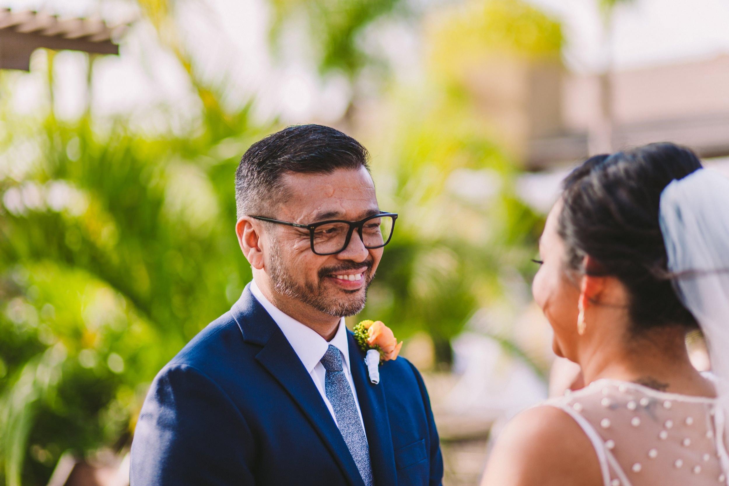 Happy Groom During Wedding Ceremony - Documentary Wedding Photography in Temecula