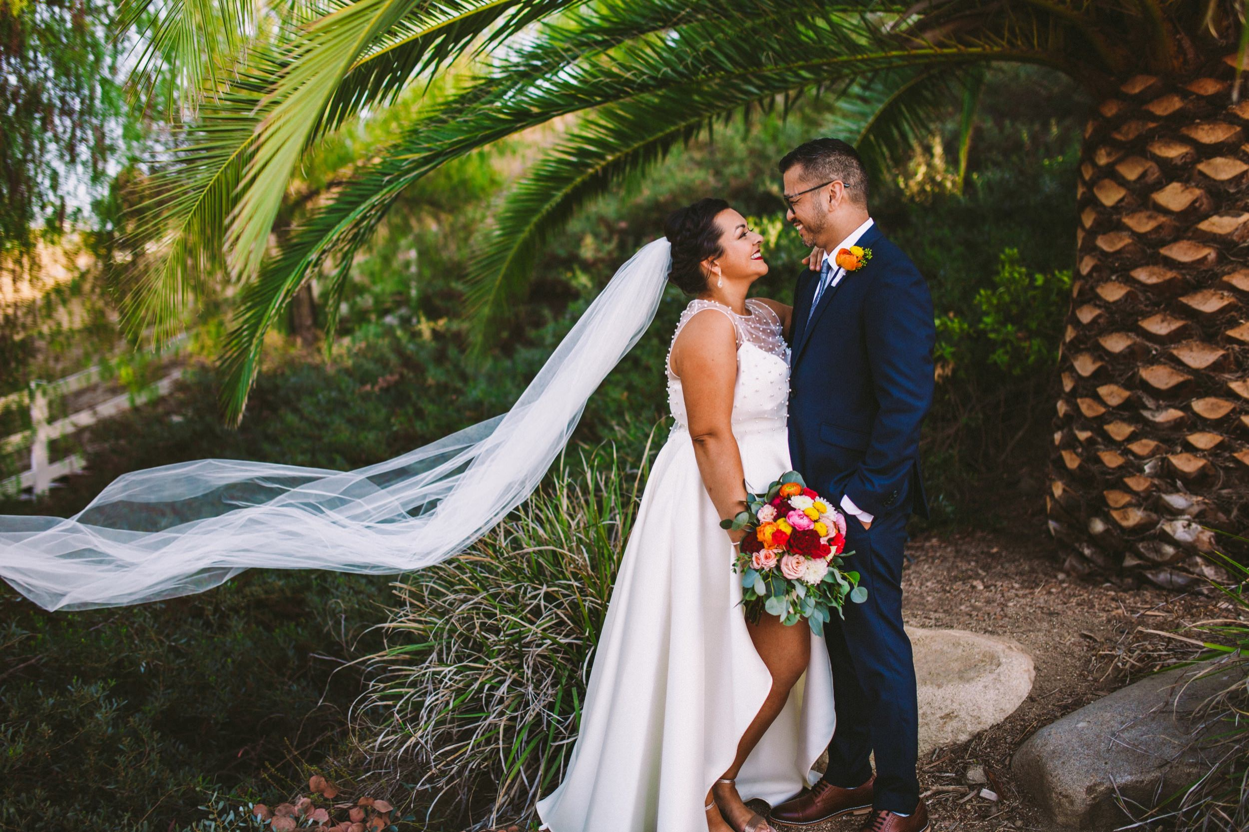 Joyful & Colorful Wedding Day Portraits with Flowing Veil in Temecula Wedding