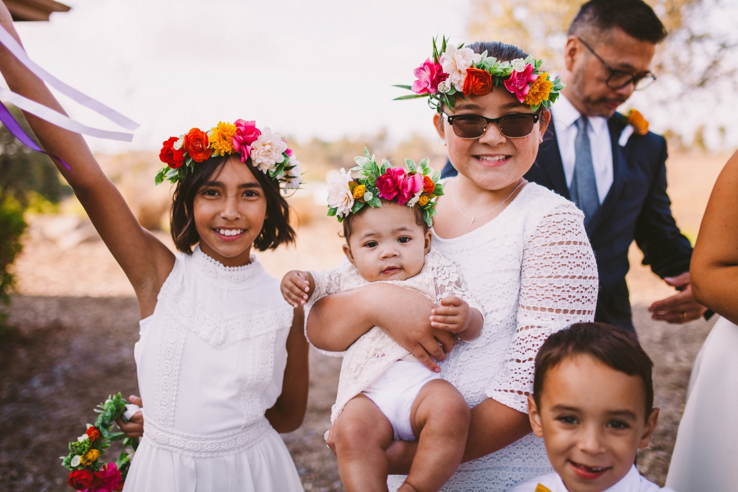 Flower Girls Matching in White and Vibrant, Colorful Flower Crowns
