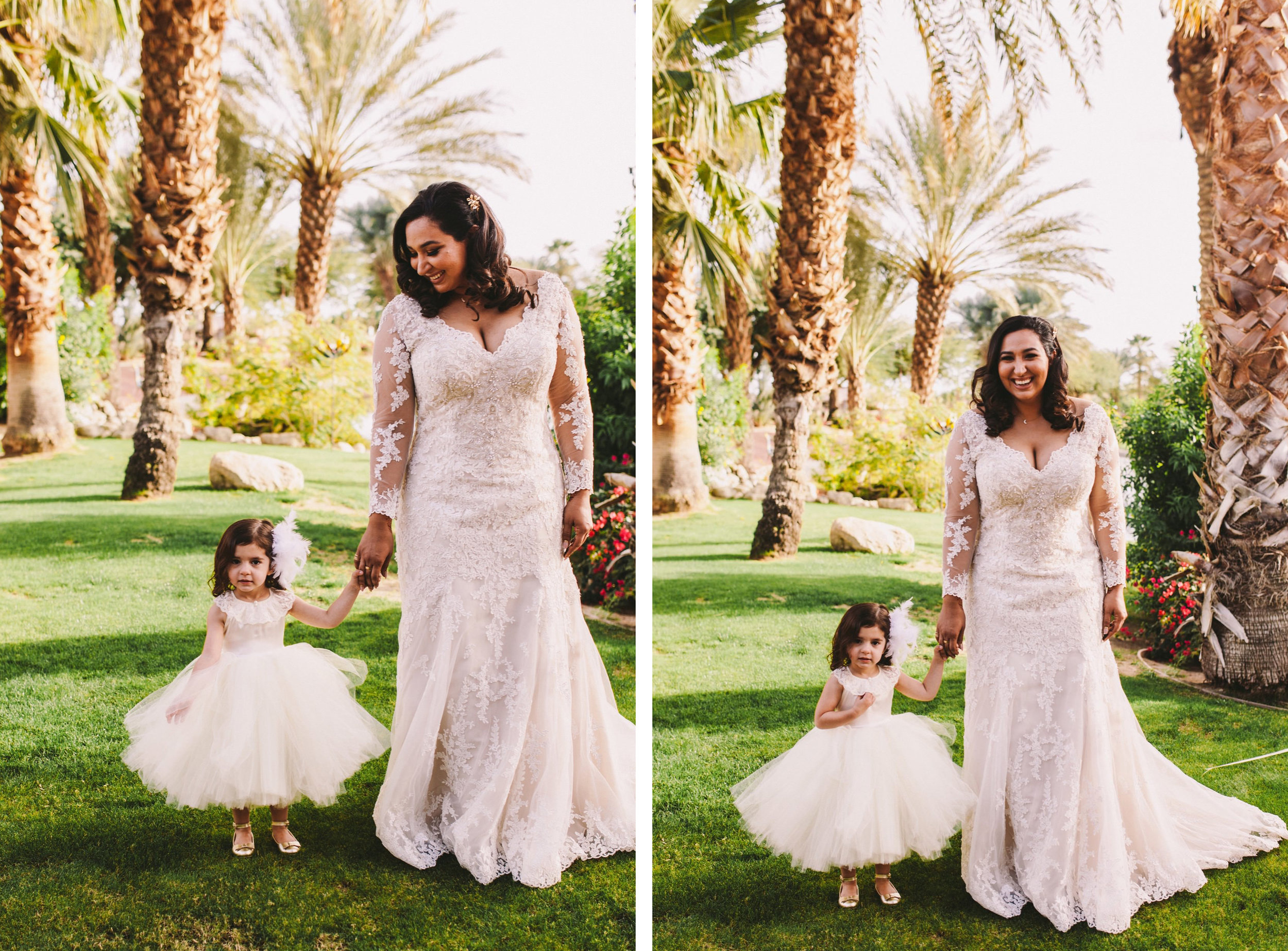 Bride & Flower Girl Portrait During Persian American Wedding