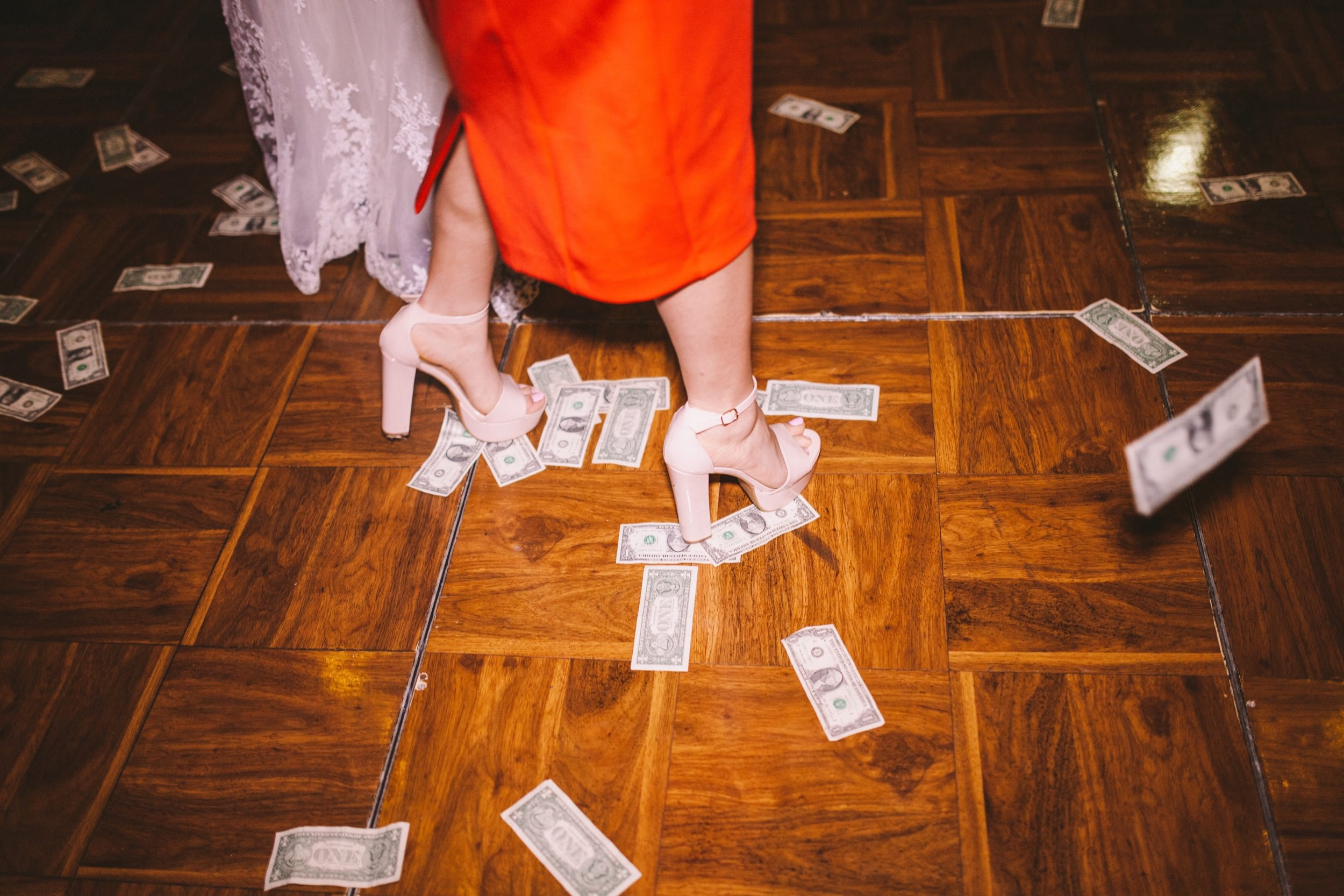 Money Floating to the Ground During Persian Wedding Knife Dance