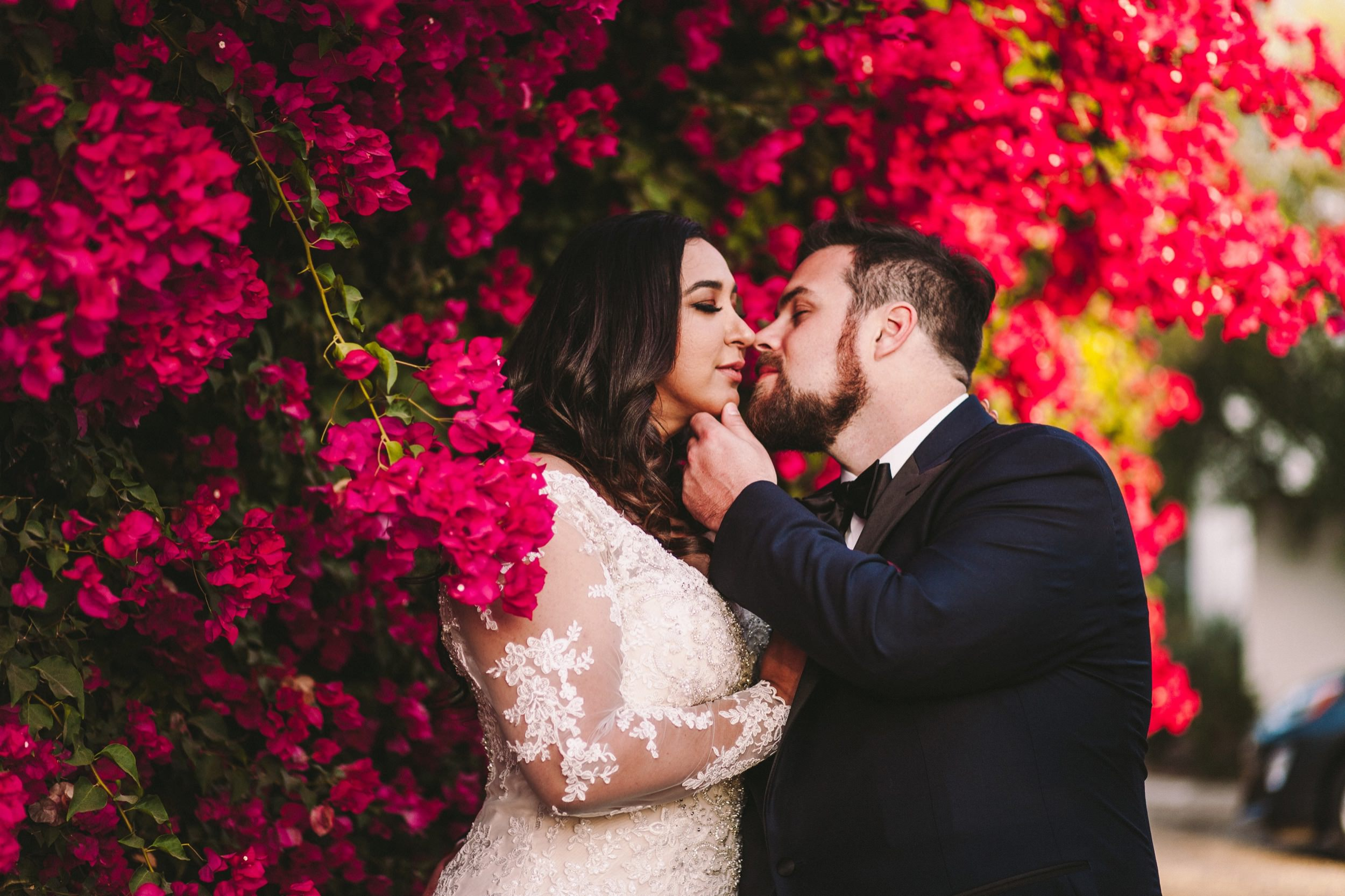 Persian American Wedding with Bougainvillea Backdrop
