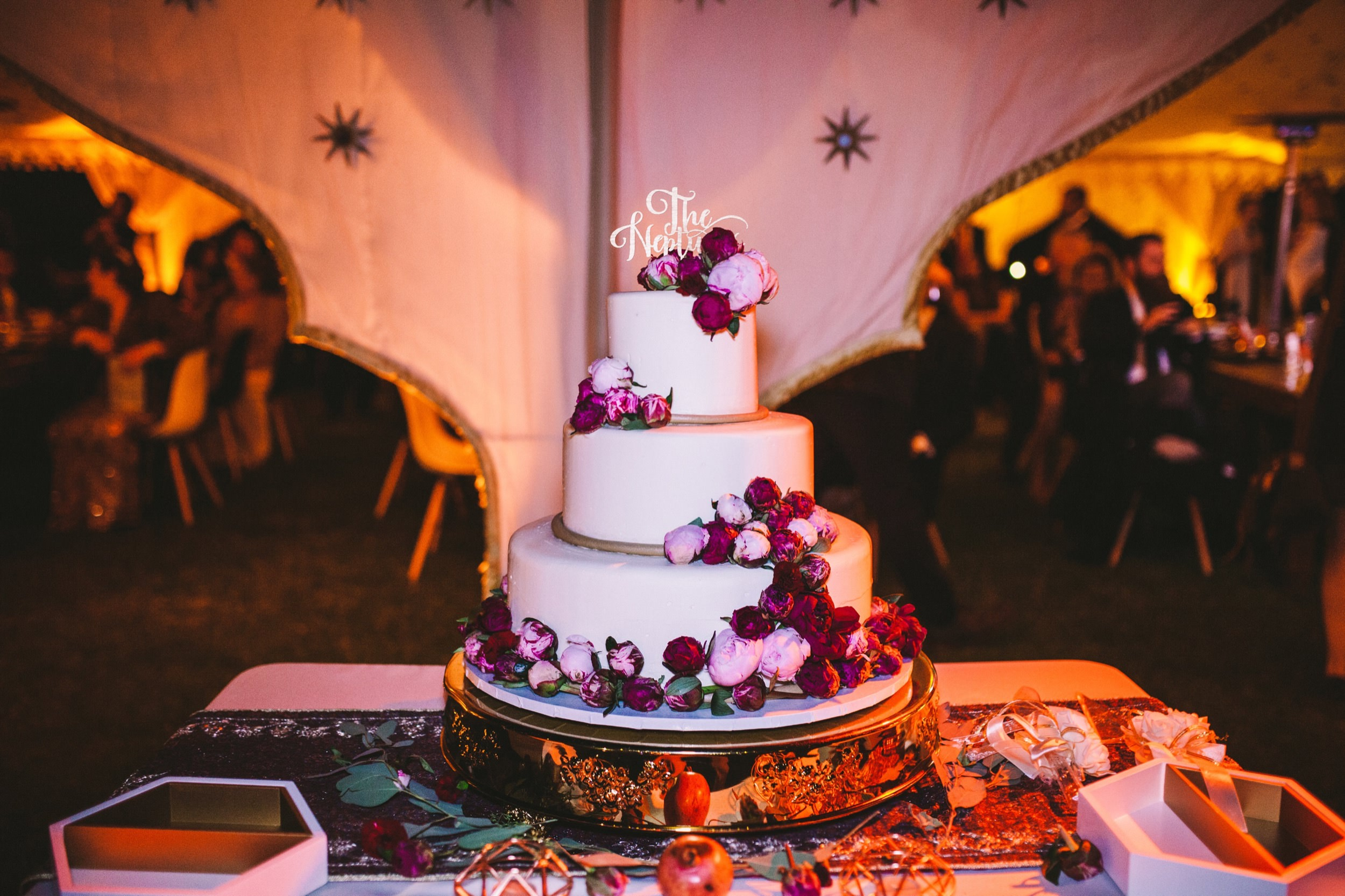 Rose & Pomegranate Decorated Wedding Cake for Persian Wedding