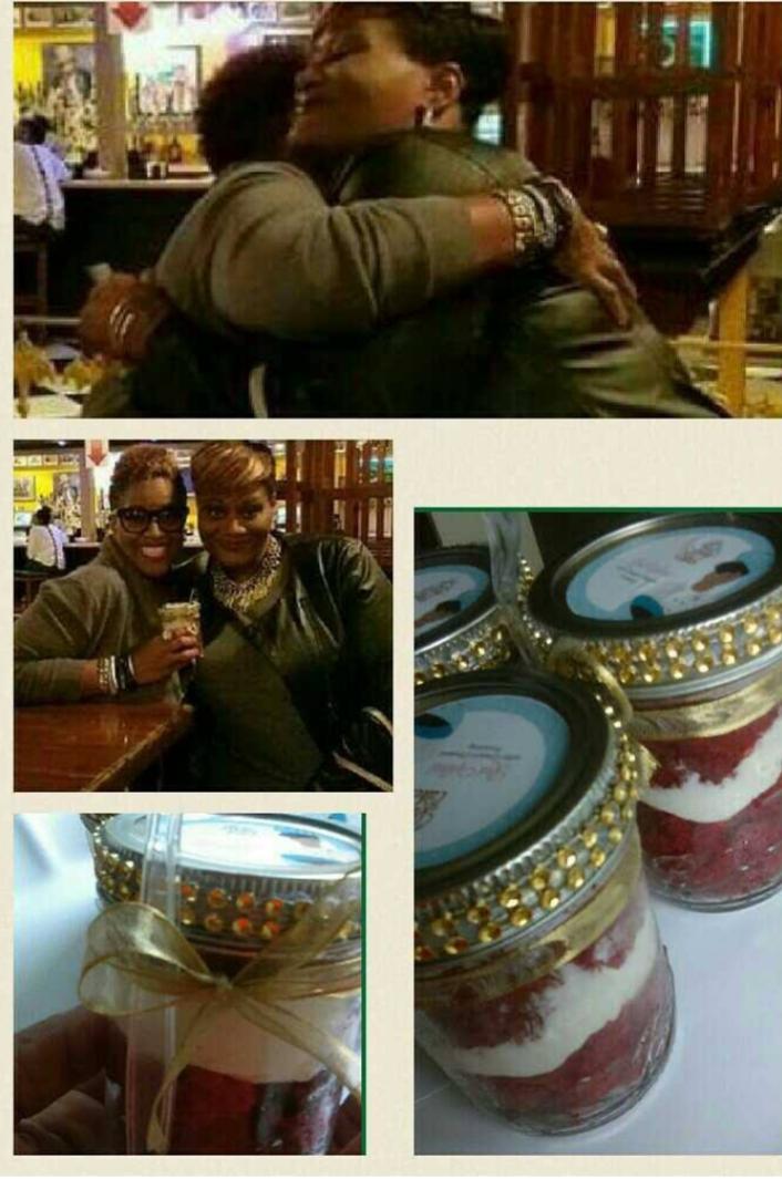 Serving Avery Sunshine our Ravishing Red Velvet Cake Ravy Cake Jars -