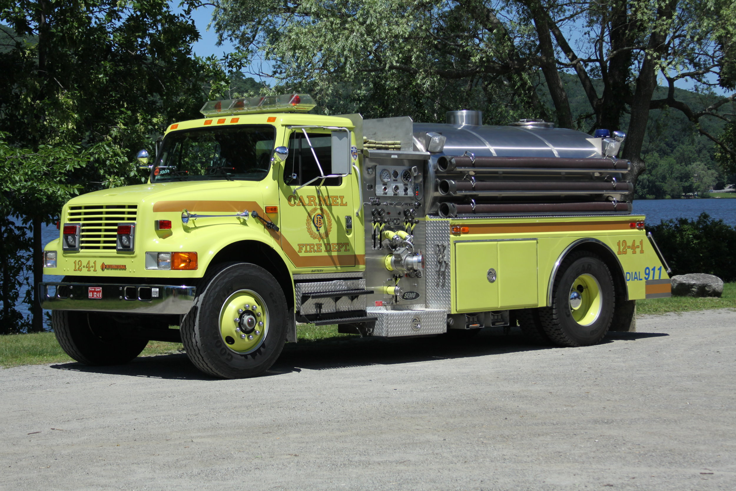 Tanker 12-4-1 - The role of the tanker is to transport water to areas without fire hydrants.