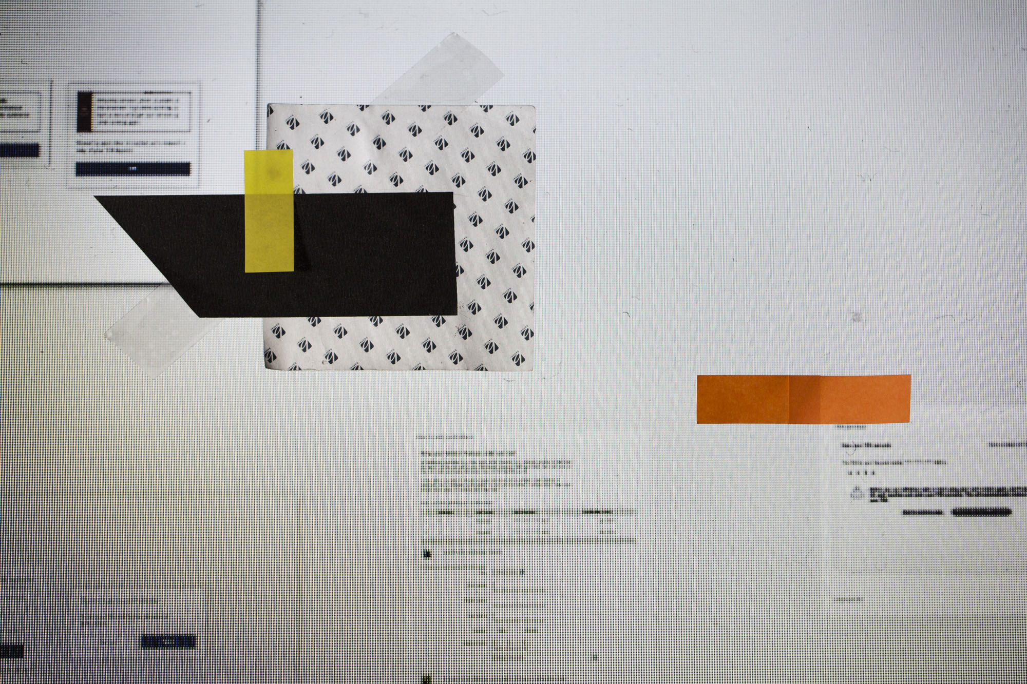Here, the digital forms on my screen at work and the pattern of the display itself became a first layer.