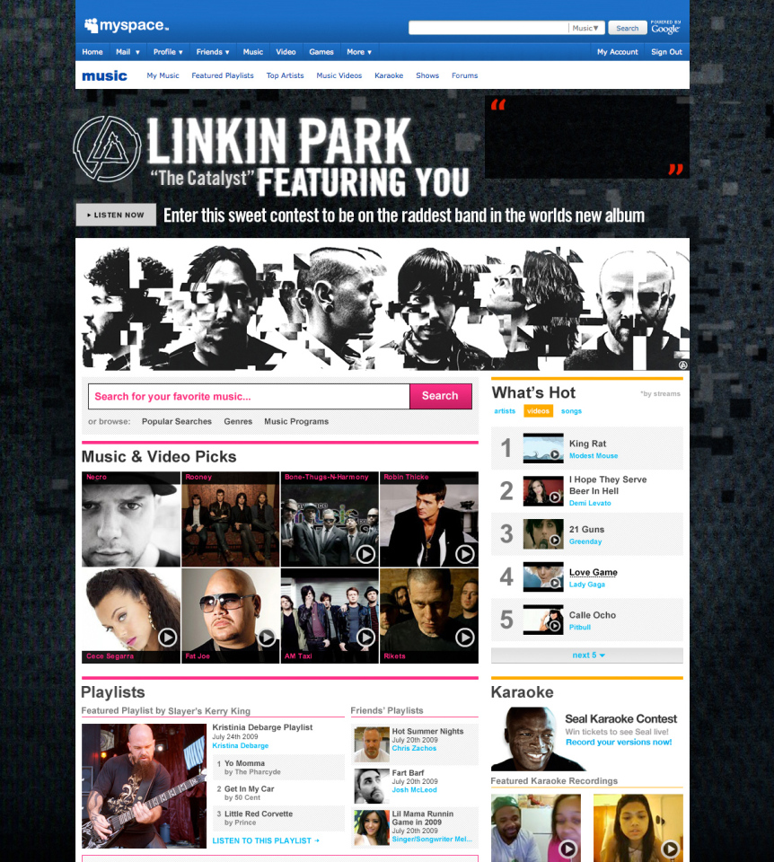 Linkin Park Homepage Takeover