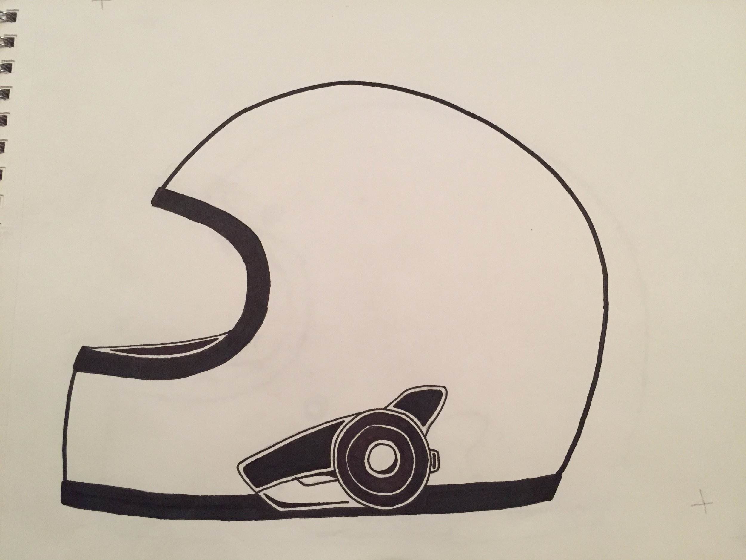 Sketch of helmet variant.